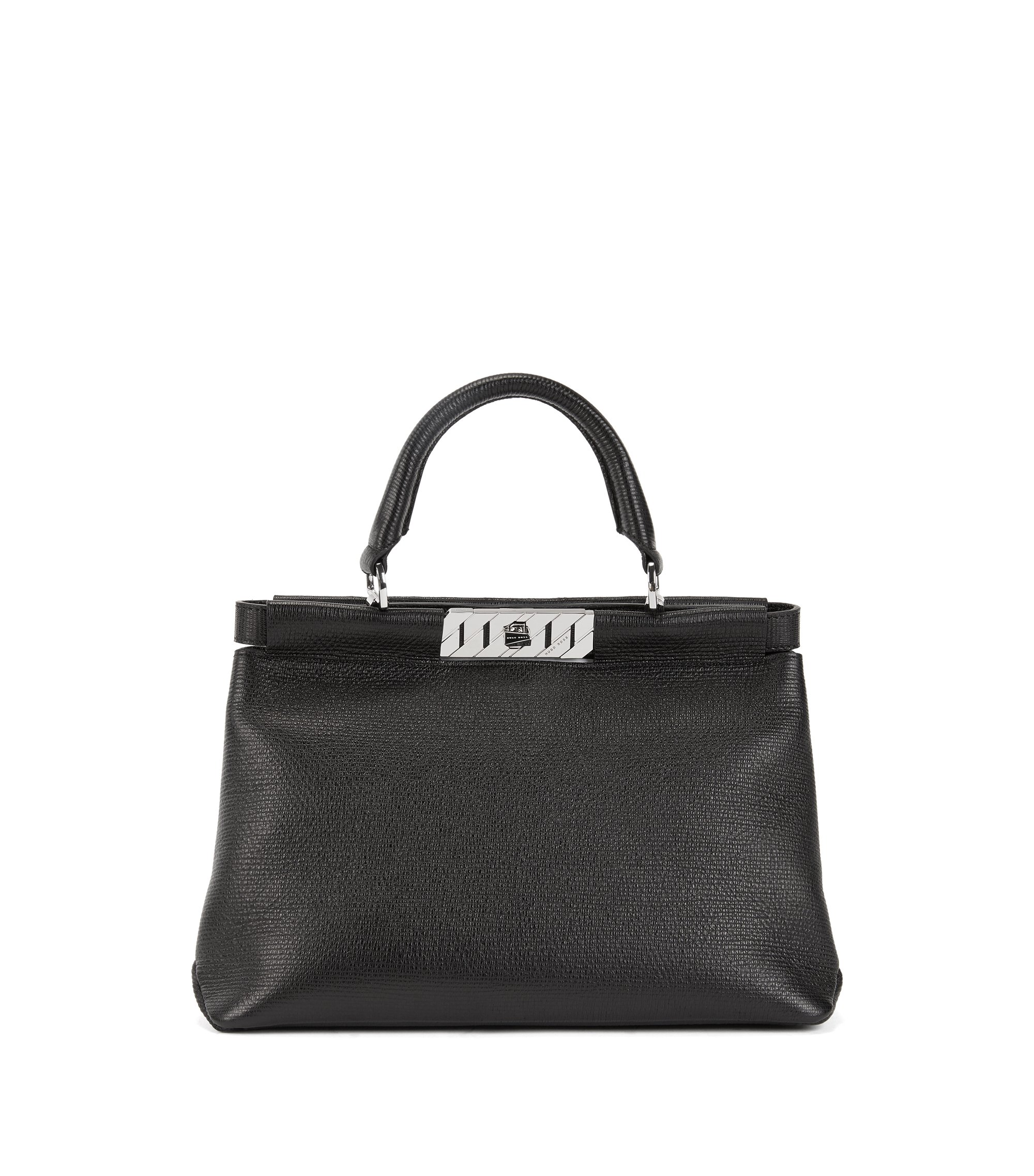 Top-handle tote bag in embossed Italian calf leather, Schwarz