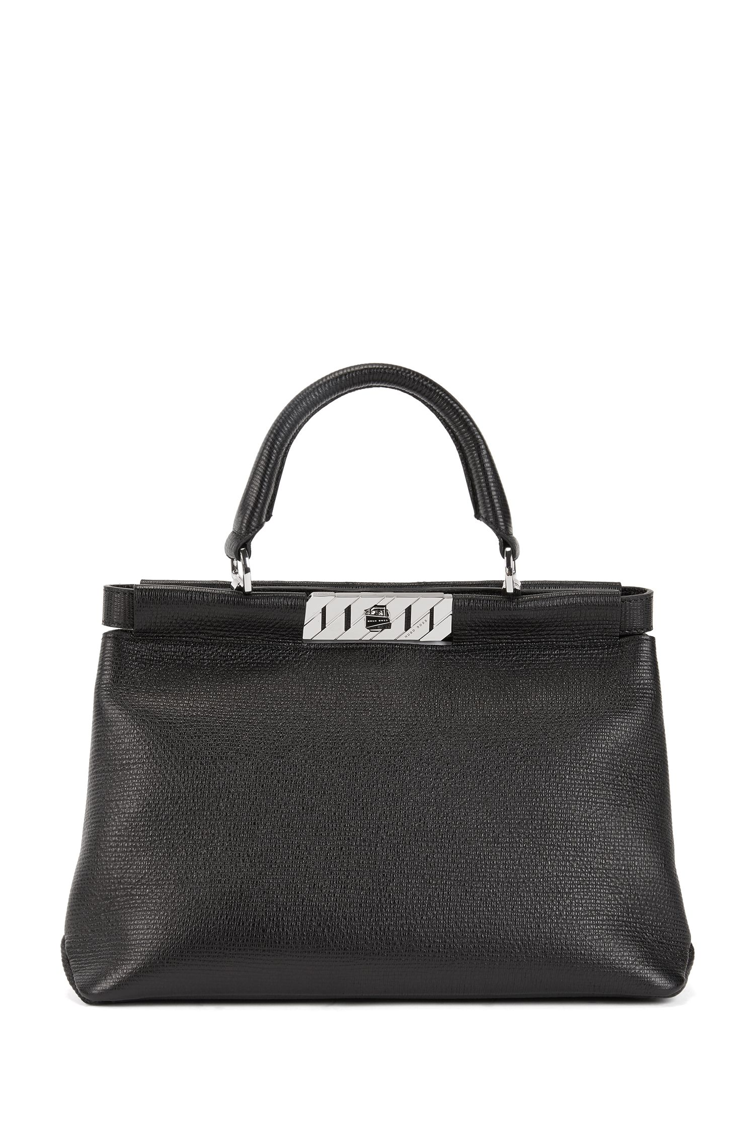 Top-handle tote bag in embossed Italian calf leather, Black