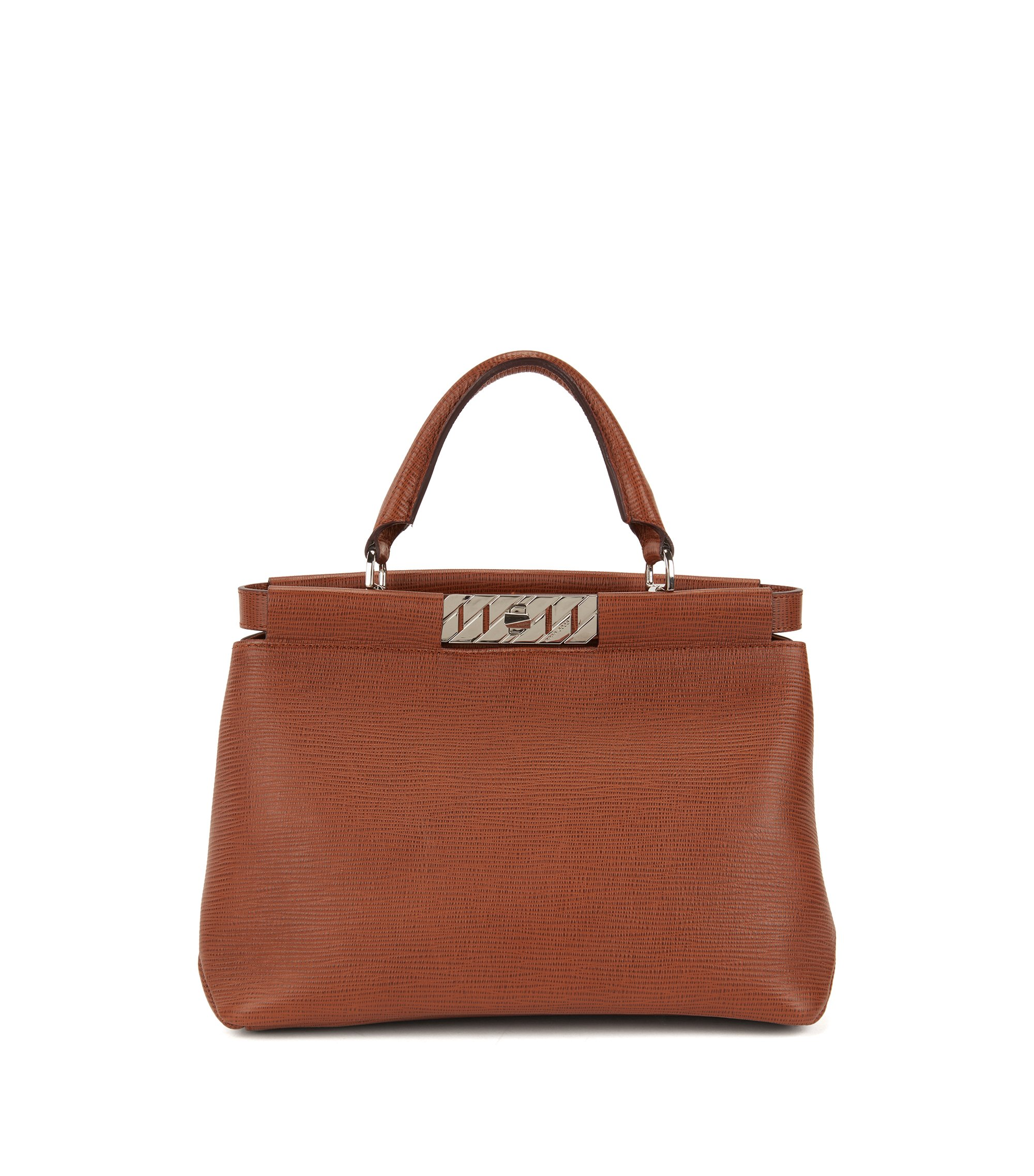 Top-handle tote bag in embossed Italian calf leather, Brown