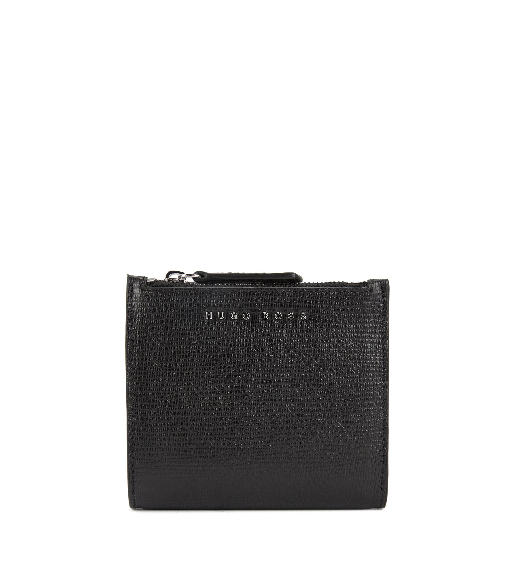 Billfold wallet in embossed Italian calf leather, Black