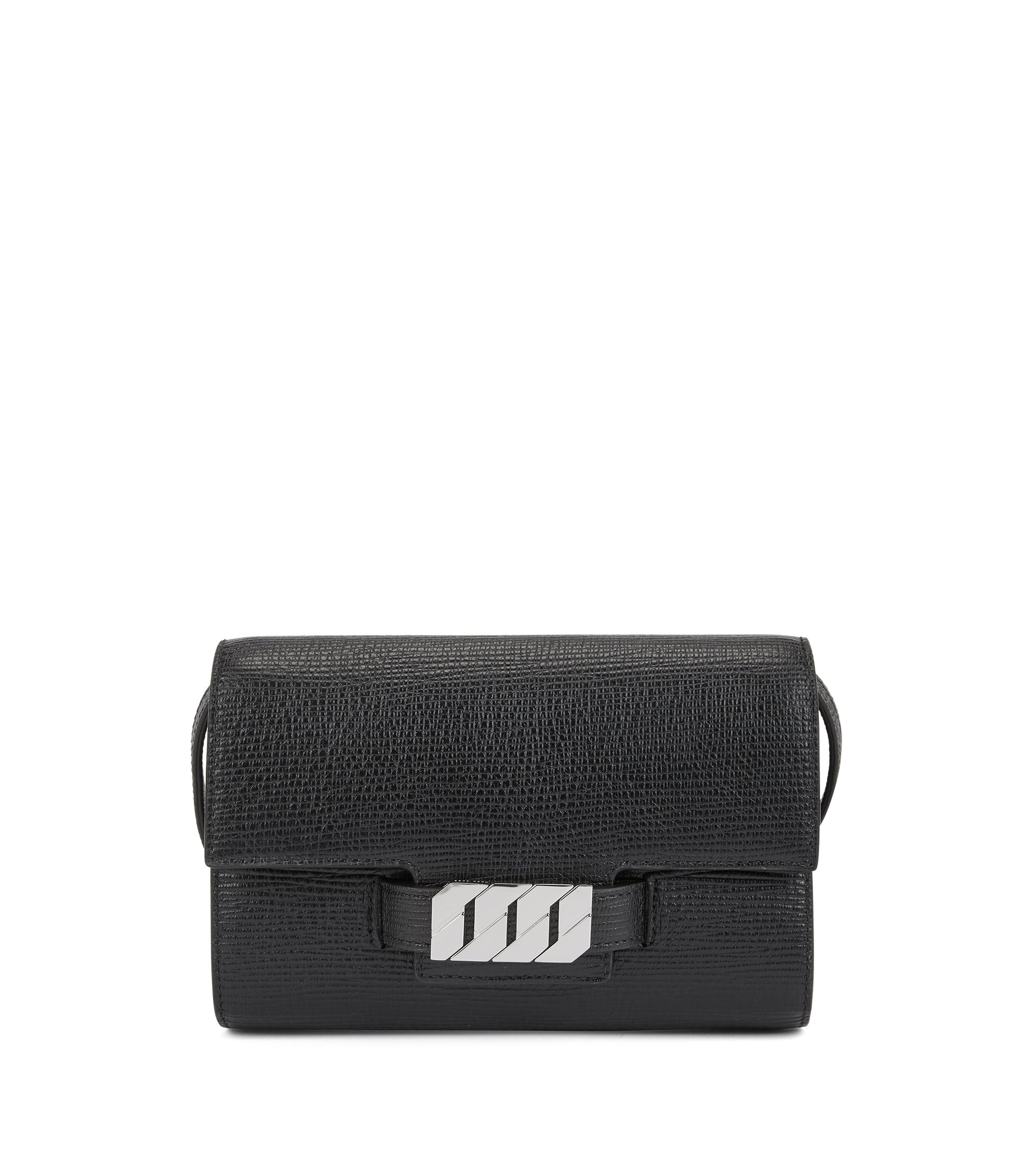 Clutch bag in Italian calf leather with signature hardware, Black