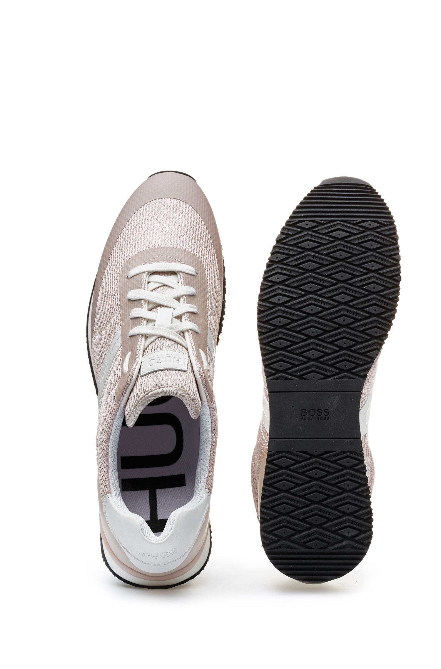 Low-top lace-up trainers with hybrid uppers, Natural