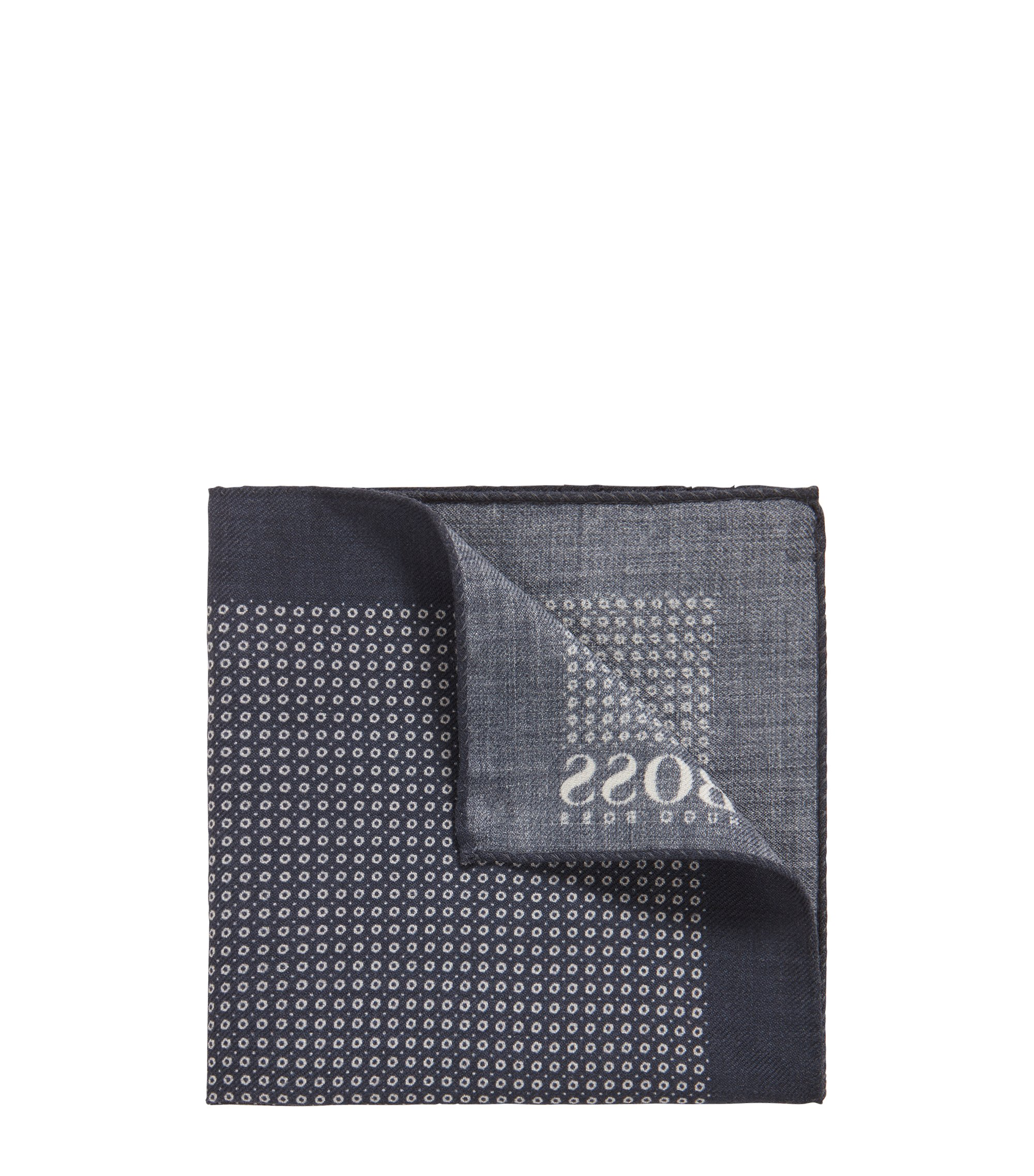 Dot-print pocket square in pure wool, Dark Blue