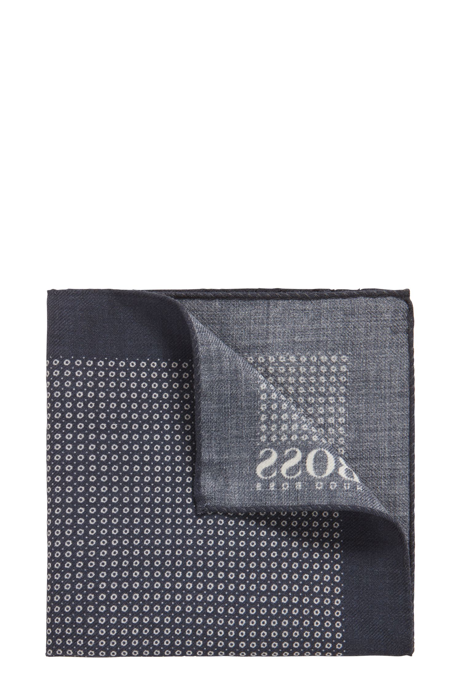 Dot-print pocket square in pure wool