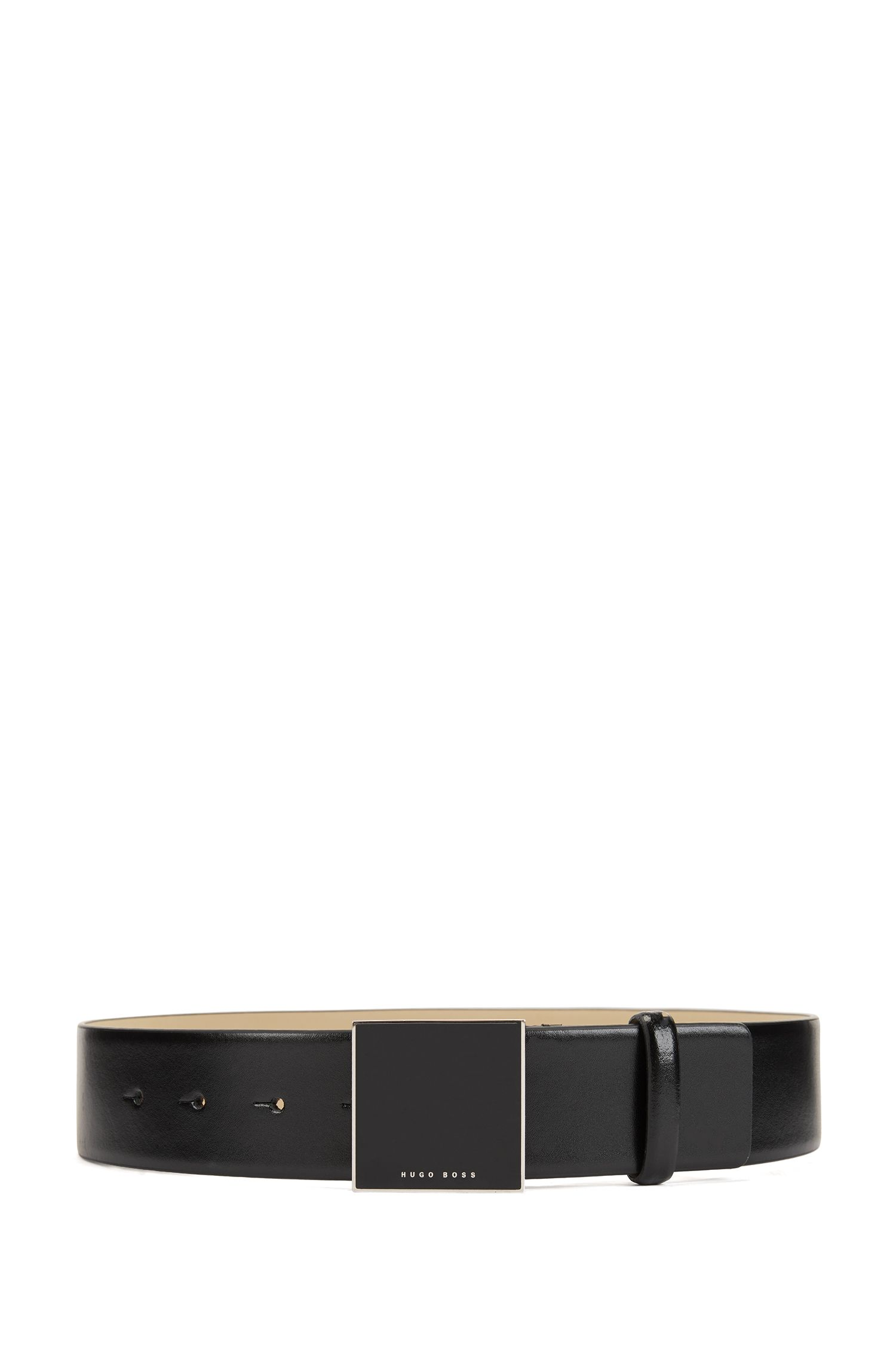 Smooth belt in Italian leather with plaque-covered closure, Black