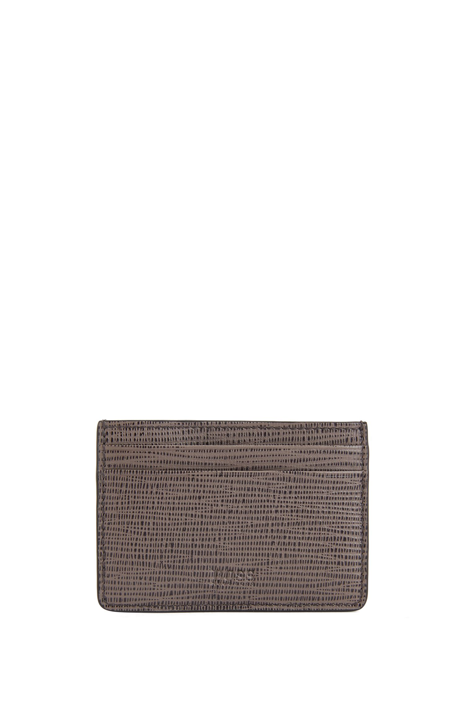 Card case in printed calf leather with money clip, Brown