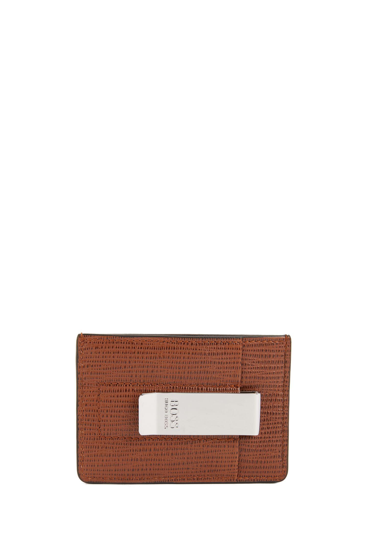 Kartenetui aus geprägtem Leder mit Geldscheinklammer, Braun