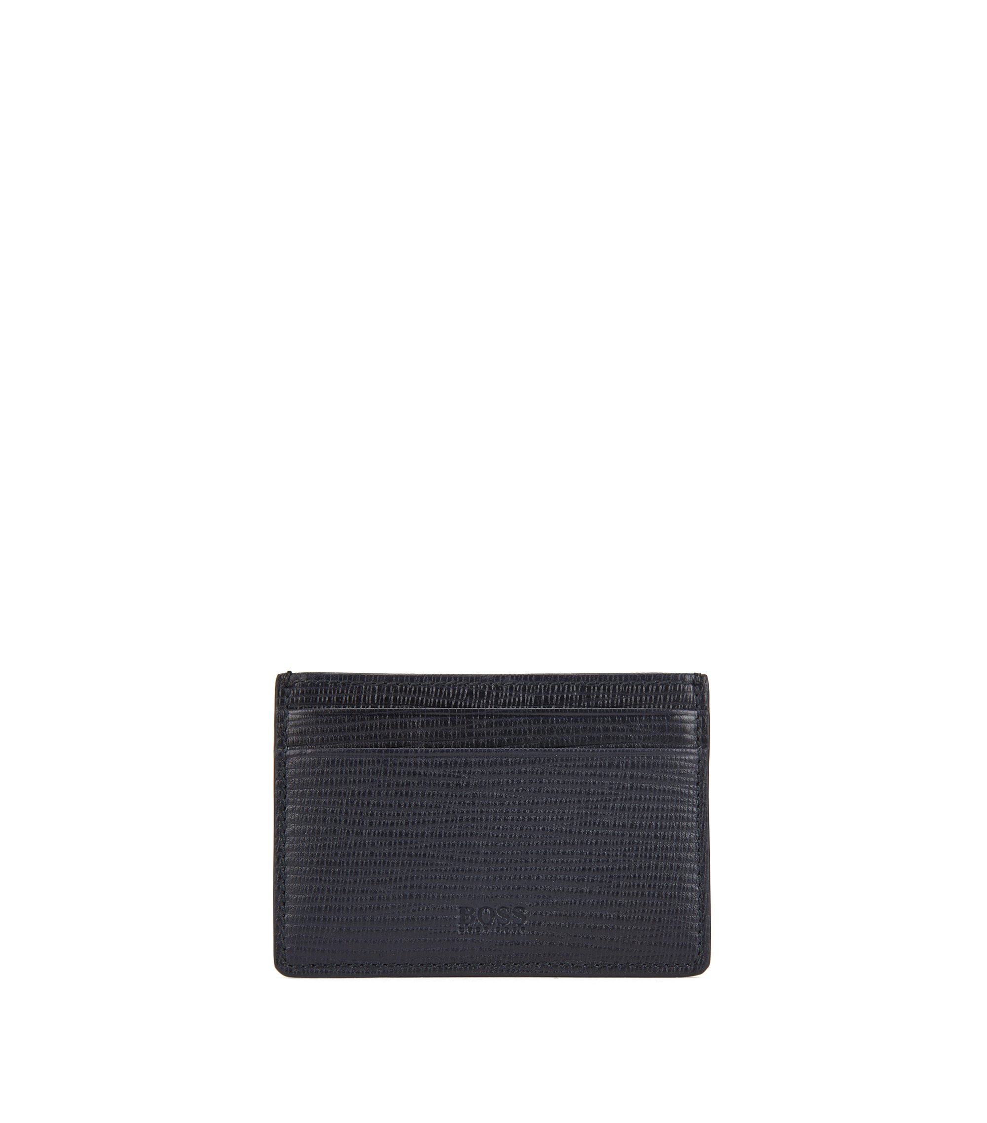 Card case in printed calf leather with money clip, Dark Blue