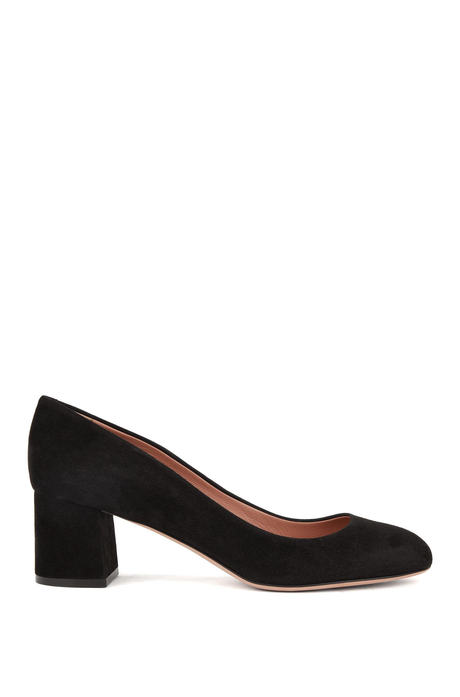 Stacked-heel pumps in Italian suede, Black