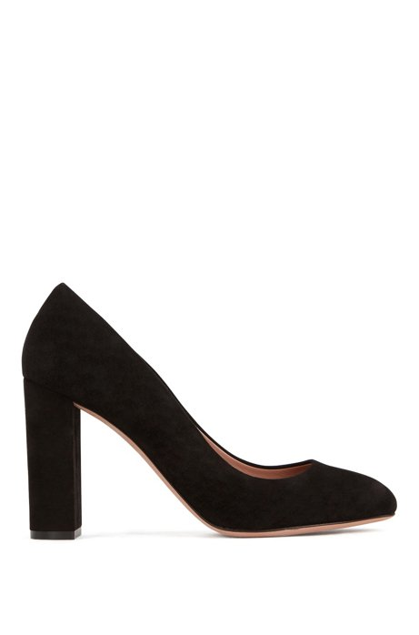 Block-heel pumps in Italian suede with leather soles, Black