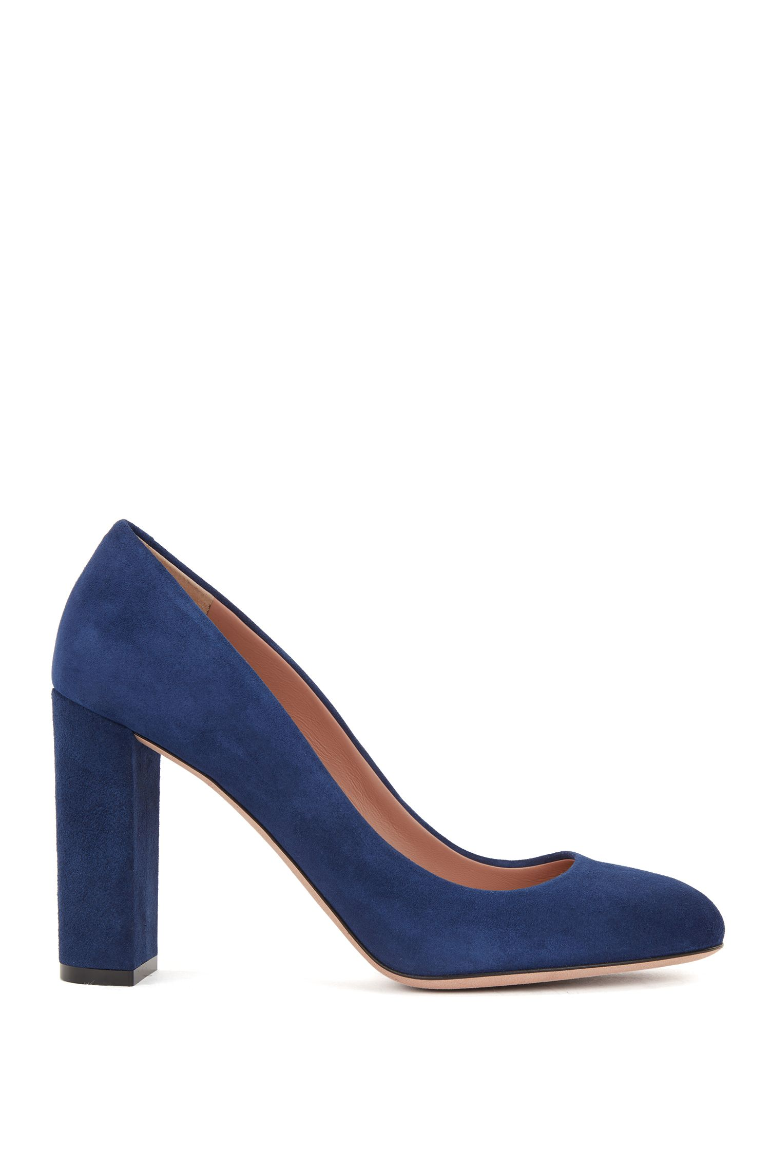 Block-heel pumps in Italian suede with leather soles, Blue
