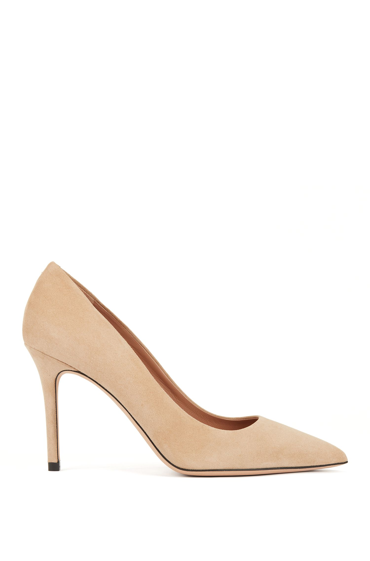 Pointed-toe court shoes in Italian suede , Light Beige