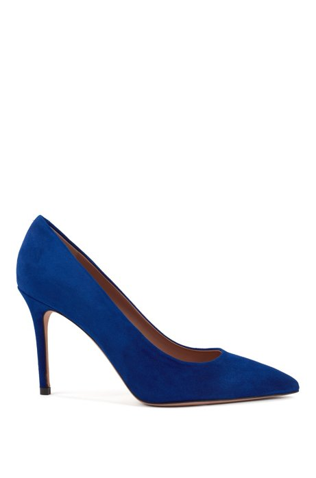 Pointed-toe court shoes in Italian suede , Blue