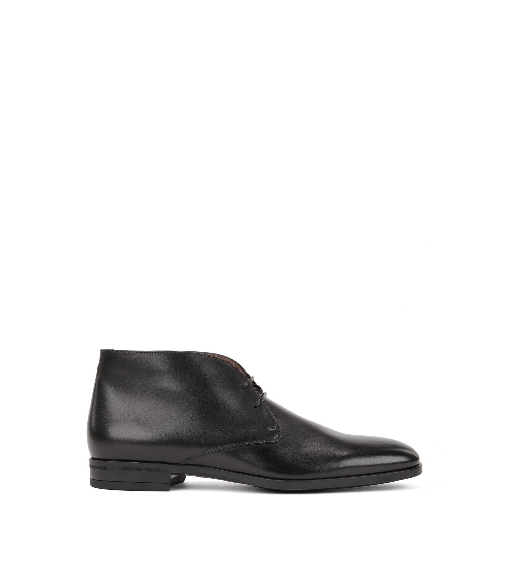 Desert boot in pelle di vitello brunita, Nero