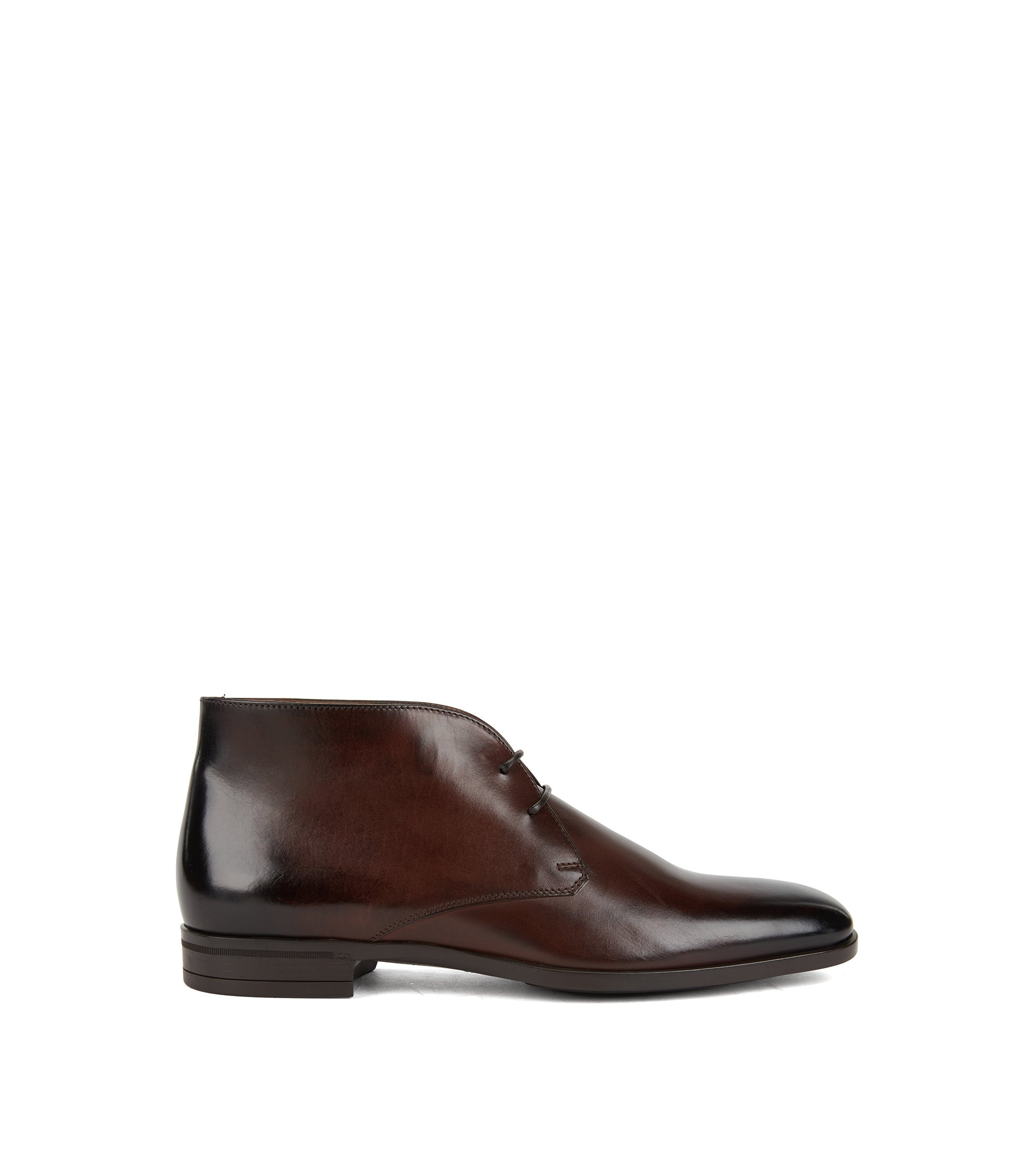 Desert boots in burnished calf leather, Dark Brown