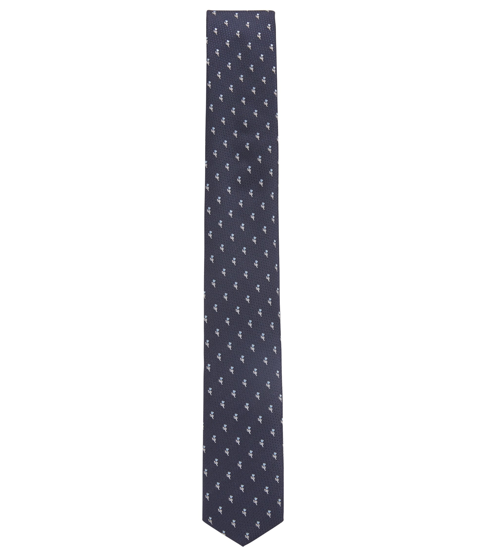 Travel Line water-repellent silk tie with floral jacquard, Blue