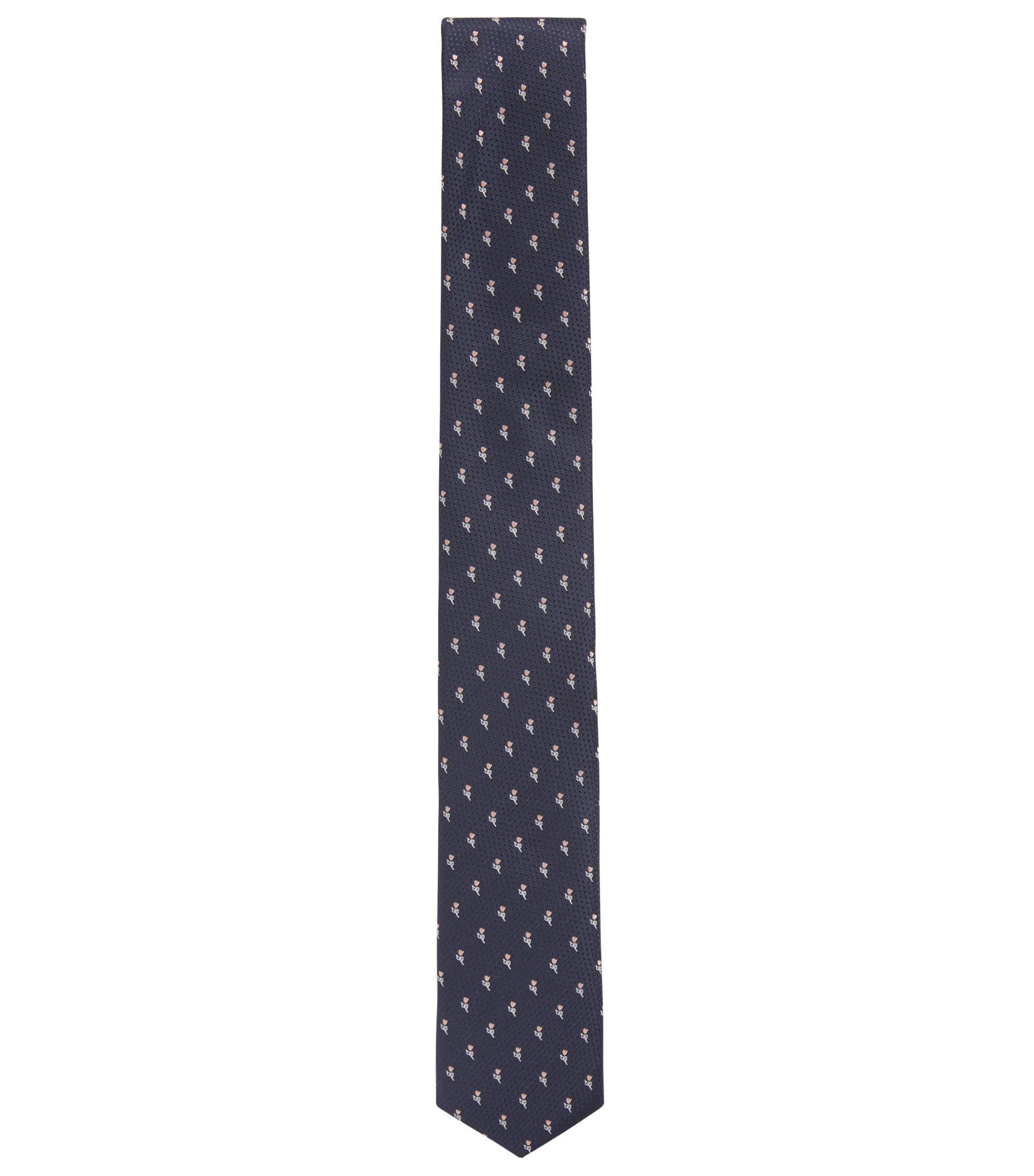 Cravate en soie imperméable de la collection Travel Line, avec motif jacquard à fleurs, Rose clair
