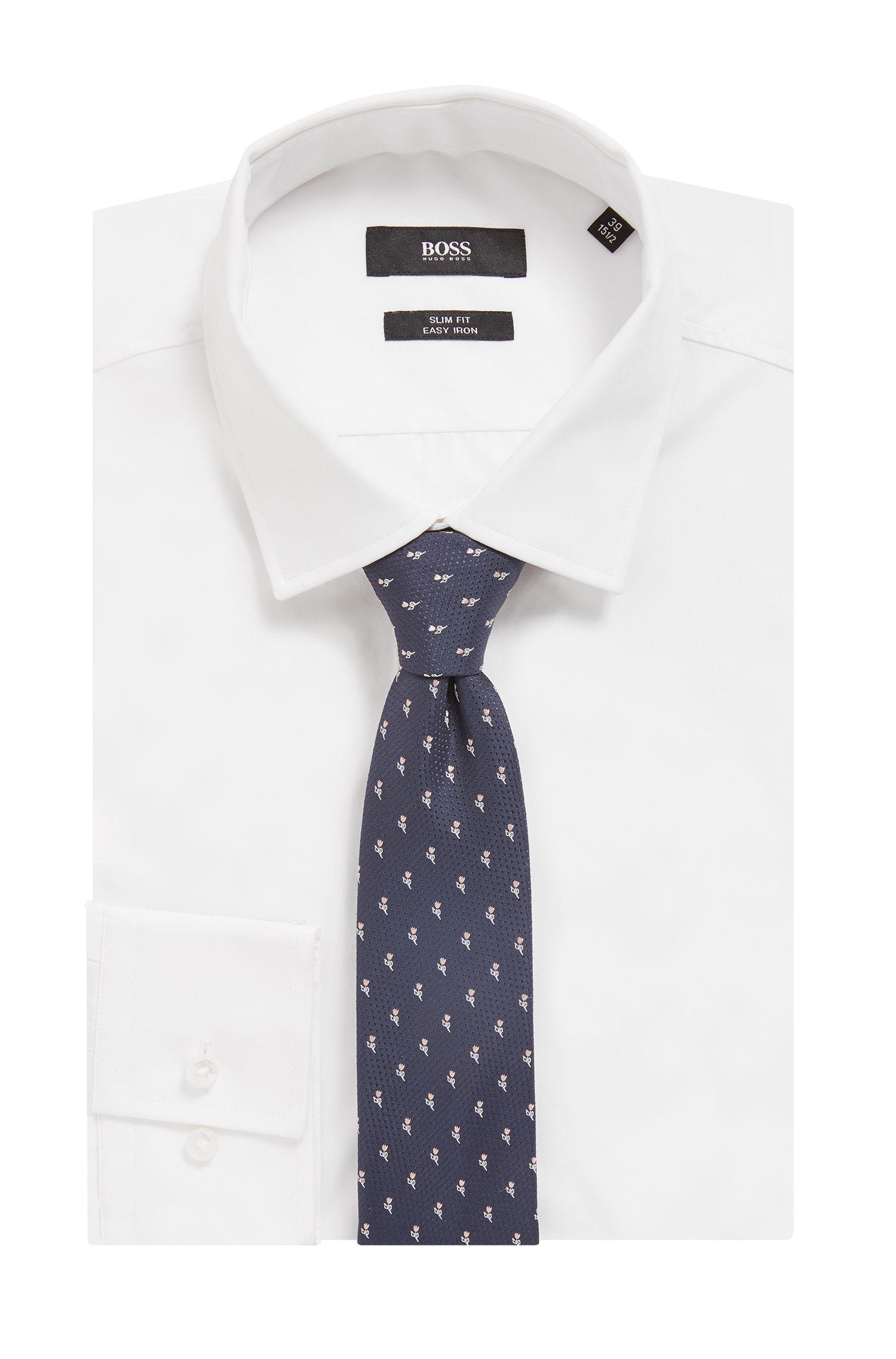 Travel Line Krawatte aus wasserabweisender Seide mit floralem Jacquardmuster, Hellrosa