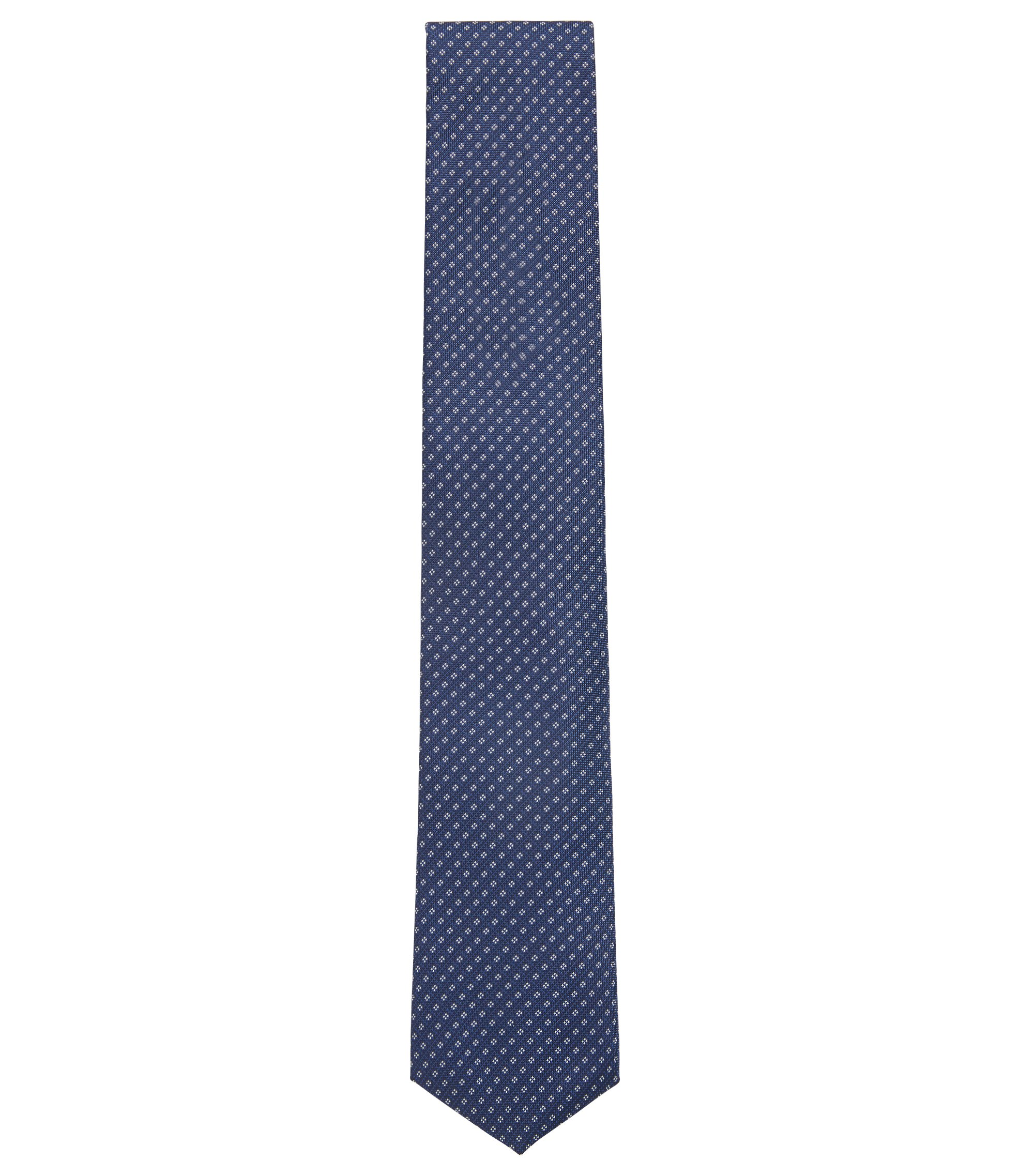 Patterned tie in water-repellent silk jacquard, Blue