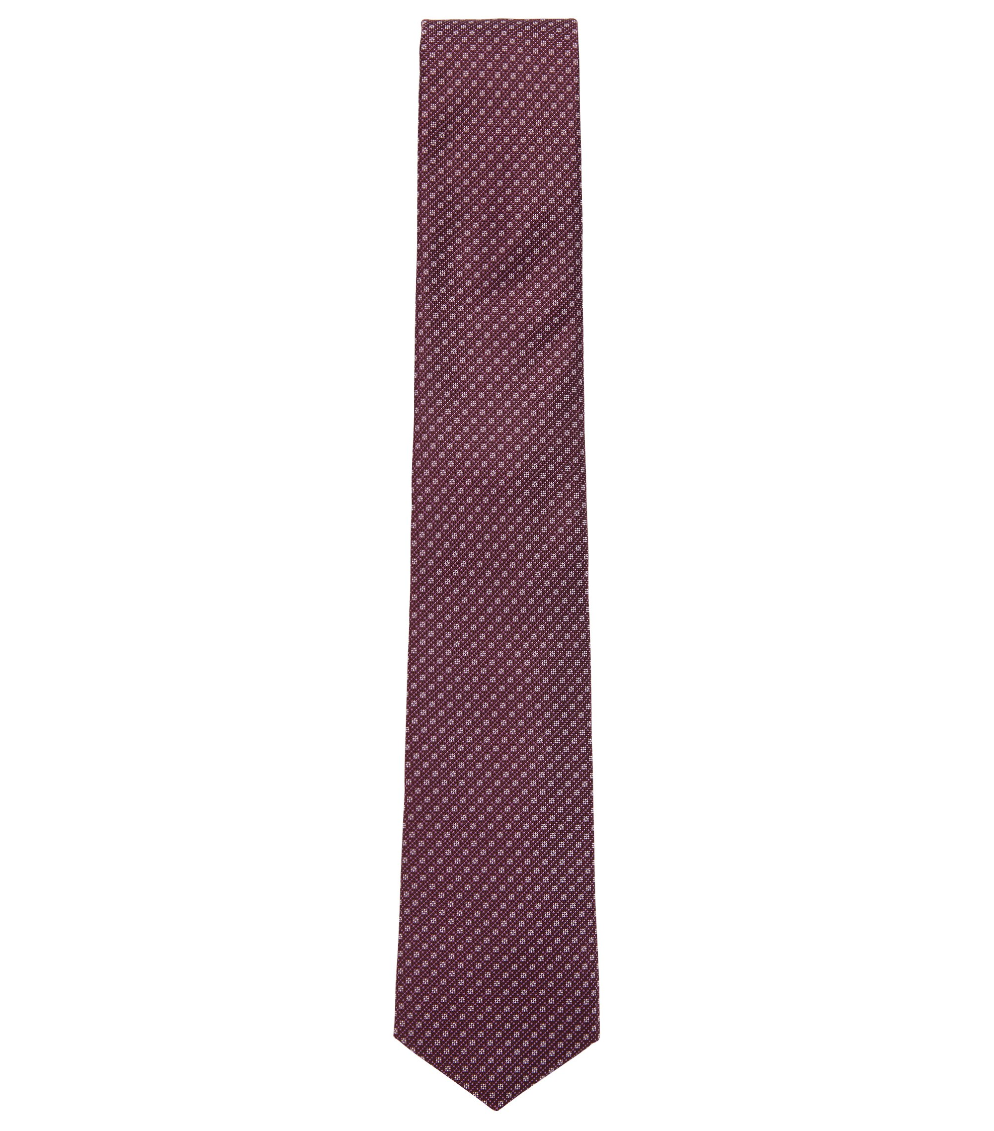 Patterned tie in water-repellent silk jacquard, Dark Purple