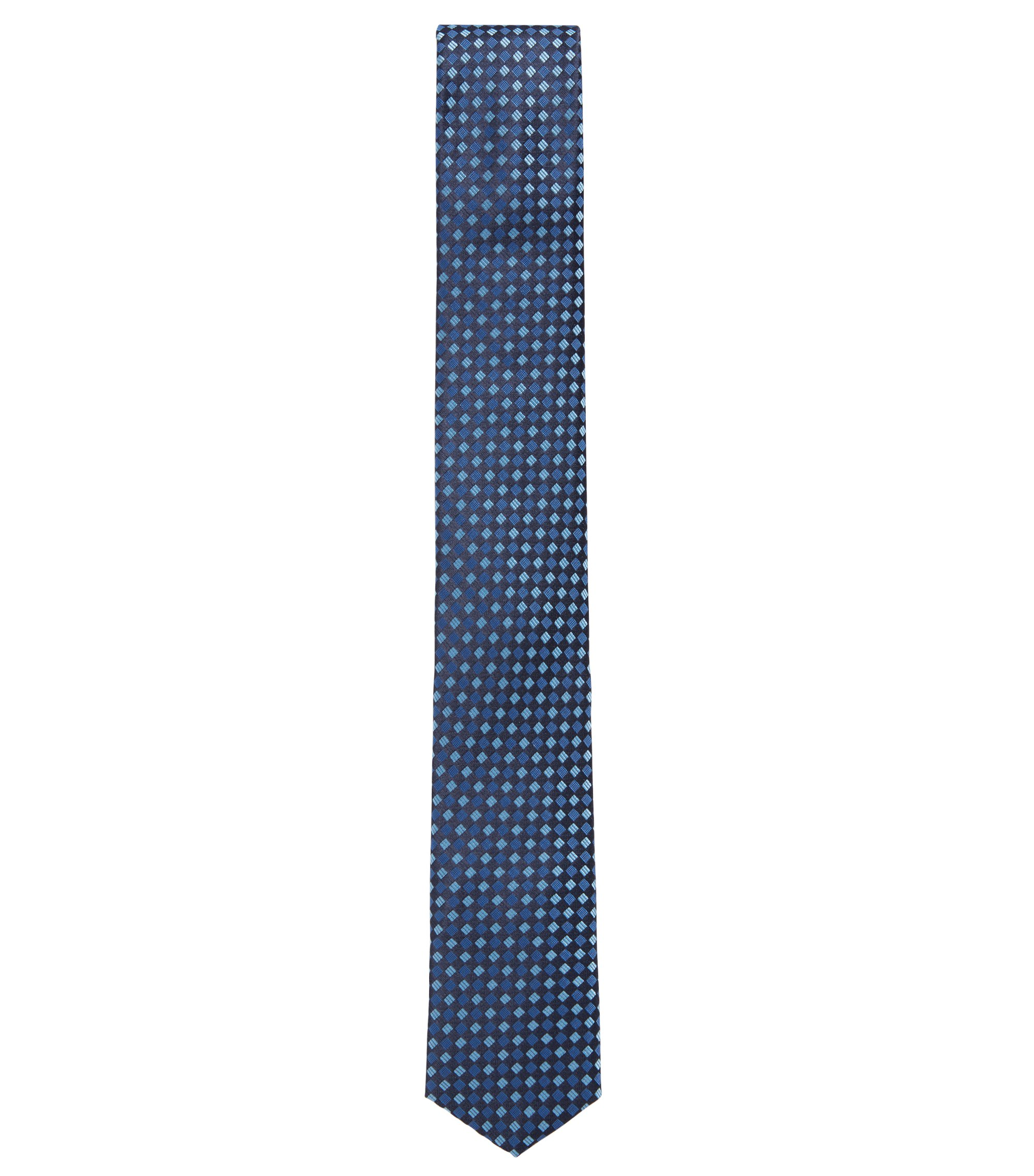 Travel Line water-repellent tie in patterned silk jacquard, Blue