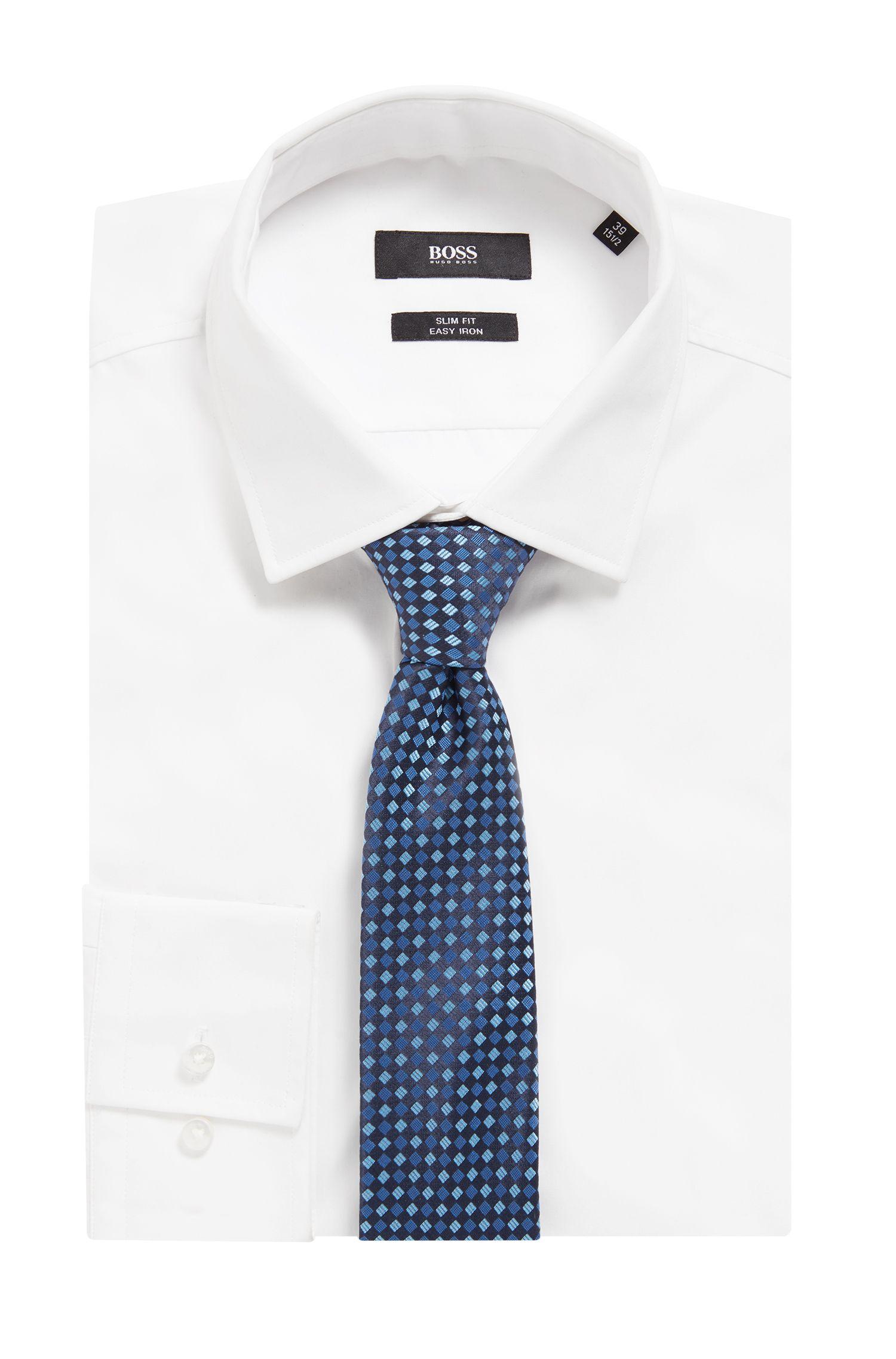 Cravate imperméable de la collection Travel Line, en jacquard de soie à motif, Bleu