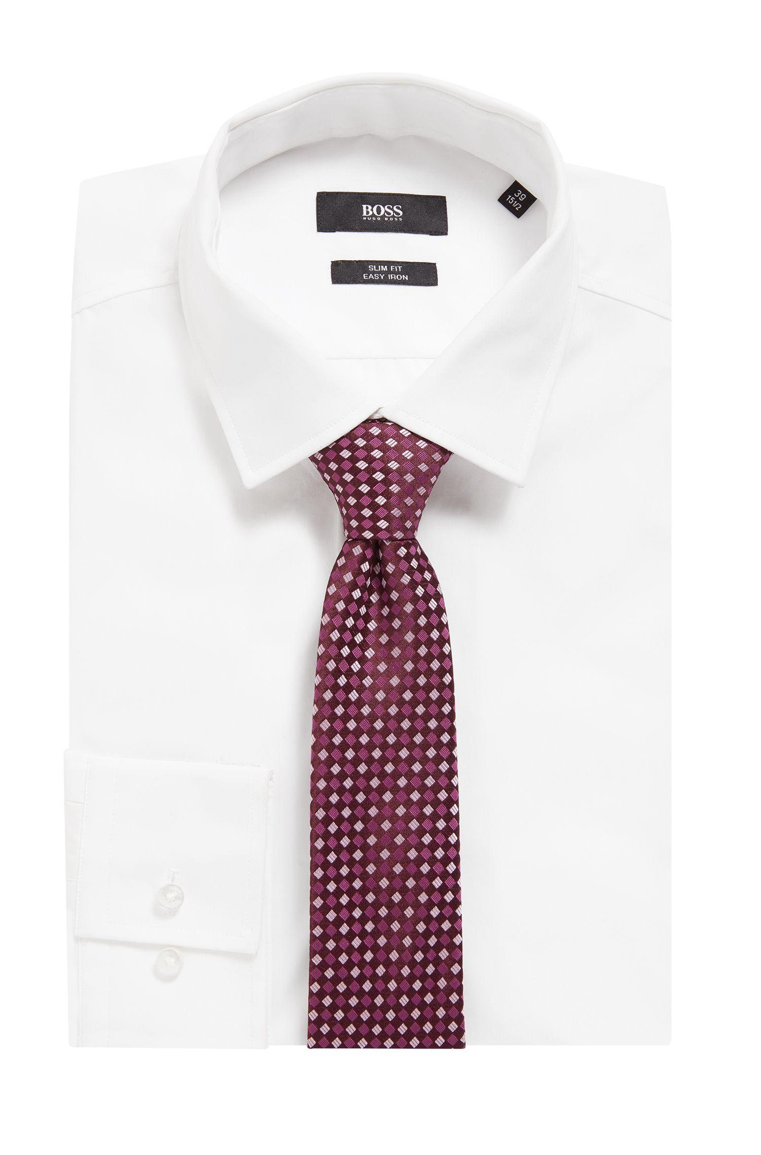 Cravate imperméable de la collection Travel Line, en jacquard de soie à motif, Violet foncé