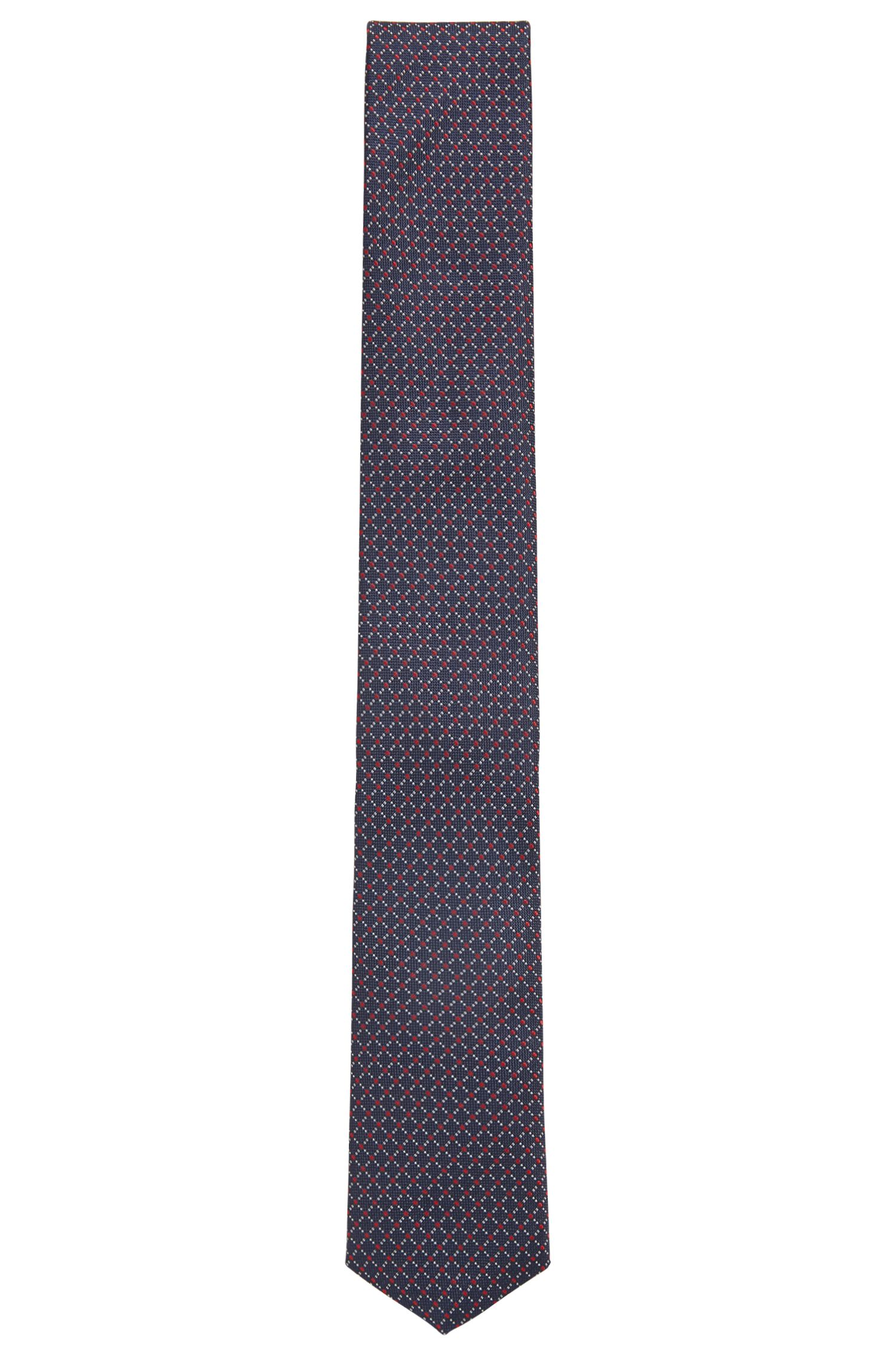 Travel Line water-repellent tie in patterned silk jacquard