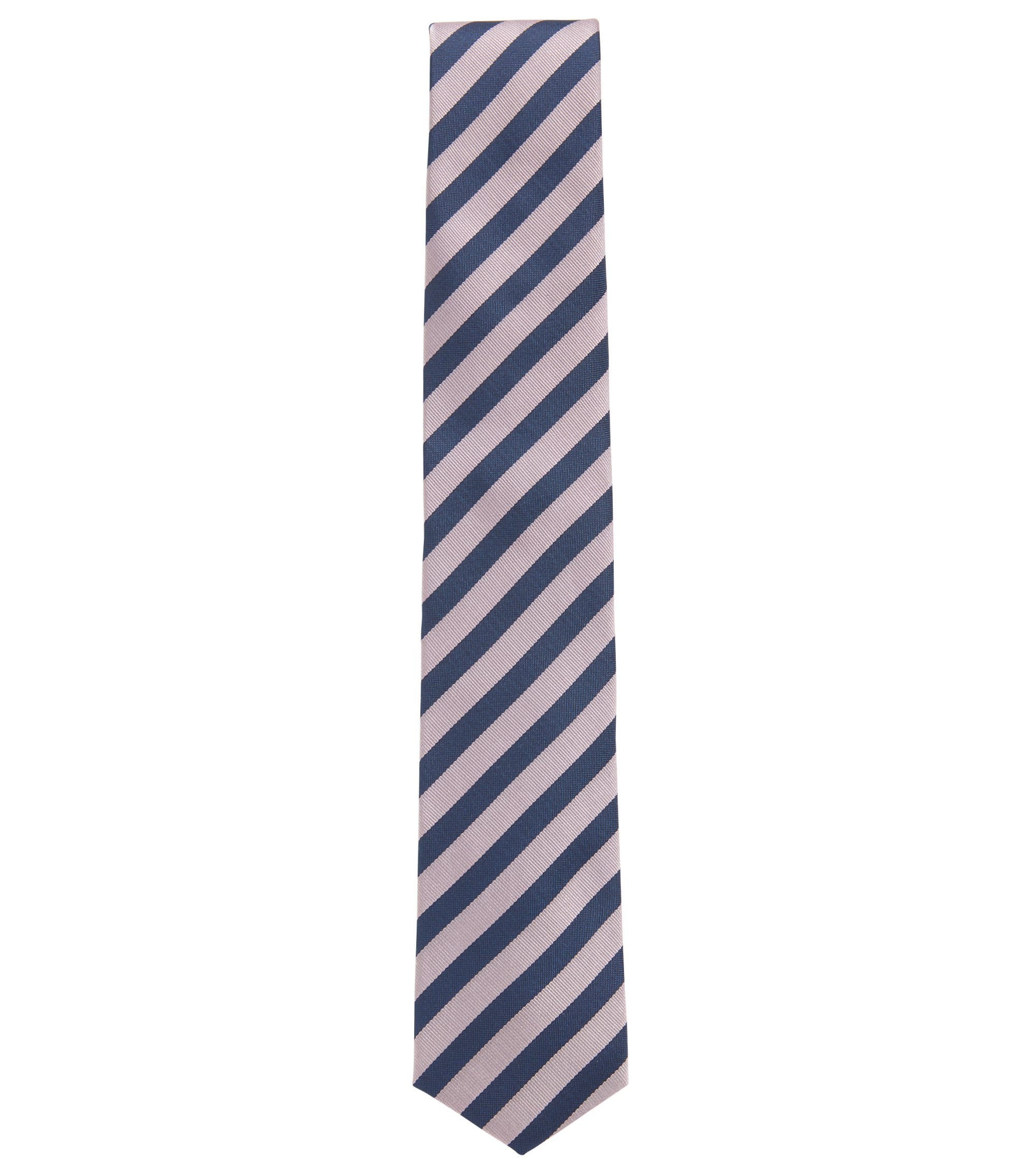 Diagonal-striped tie in water-repellent silk with shaped end, light pink