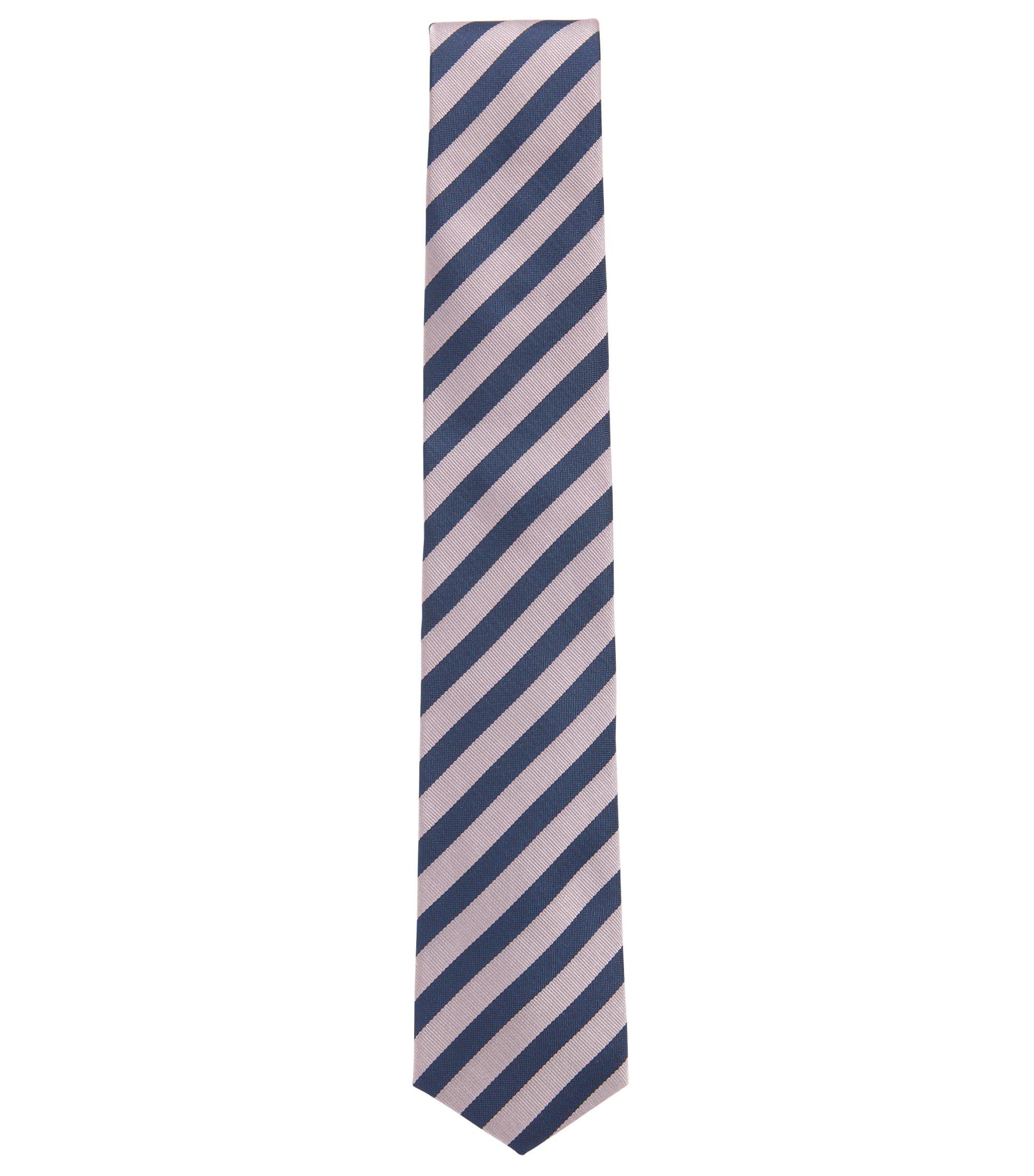 Diagonaal gestreepte stropdas van waterafstotende zijde met gevormd uiteinde, Lichtroze