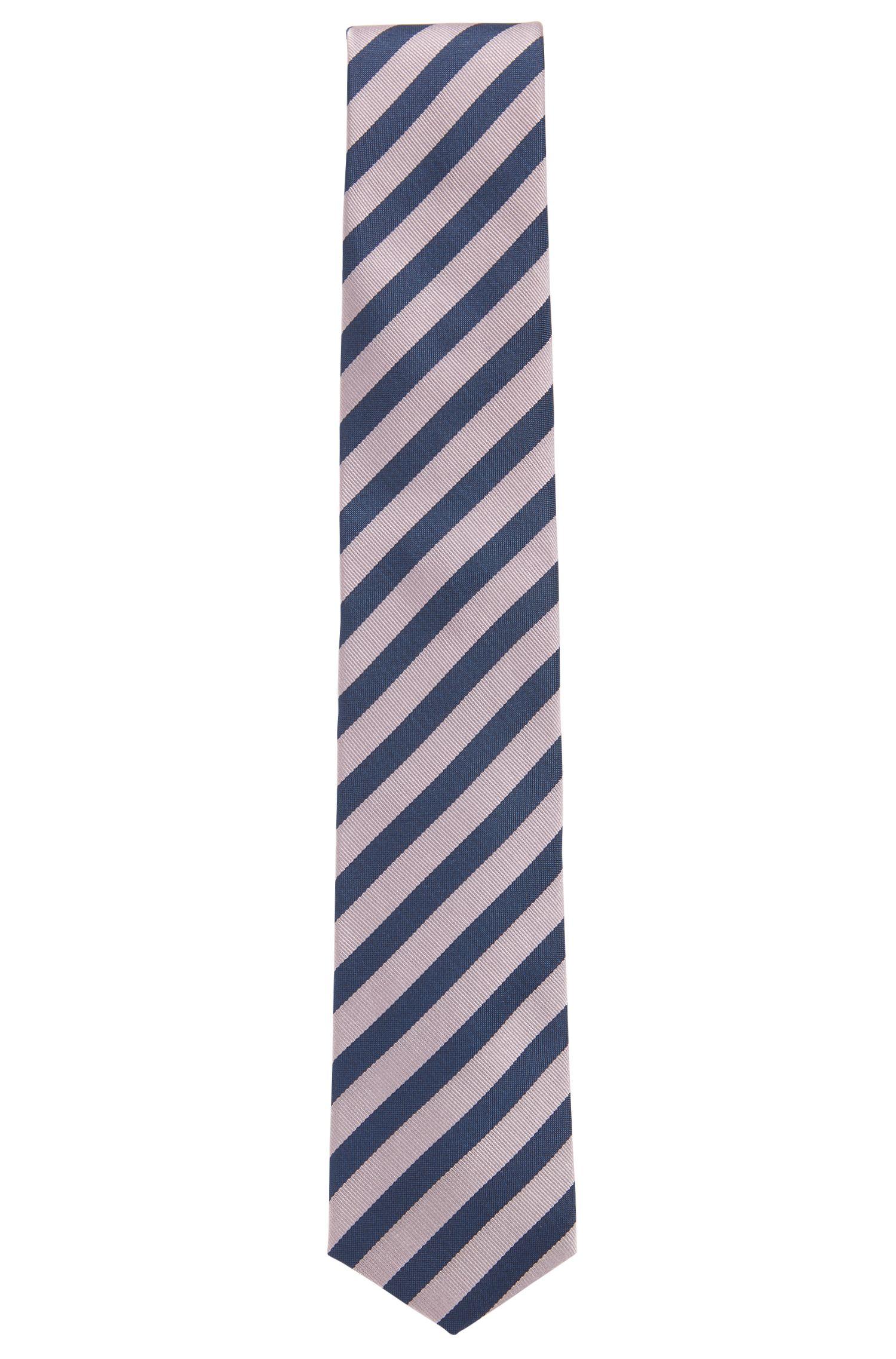 Diagonal gestreifte Krawatte aus wasserabweisender Seide, Hellrosa