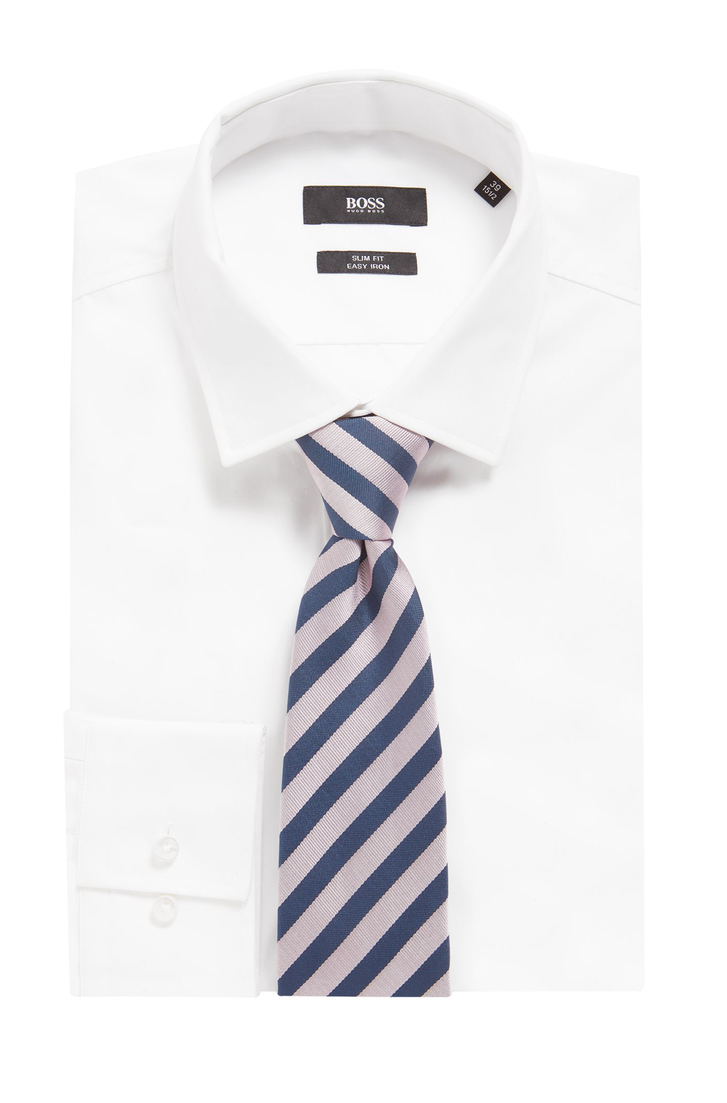Diagonal-striped tie in water-repellent silk with shaped end