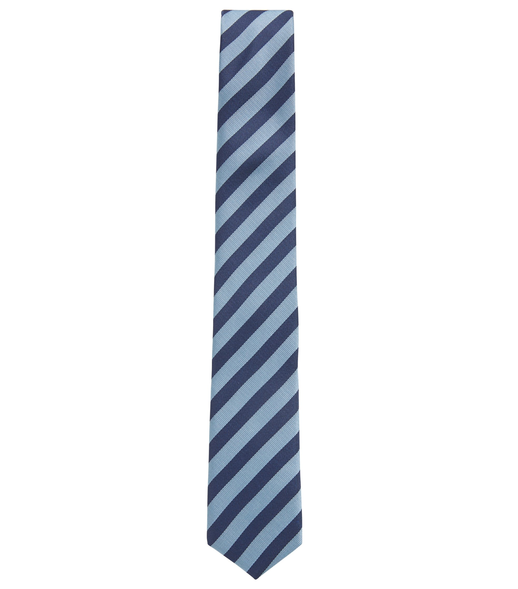 Travel Line water-repellent silk tie with diagonal stripes, Light Blue