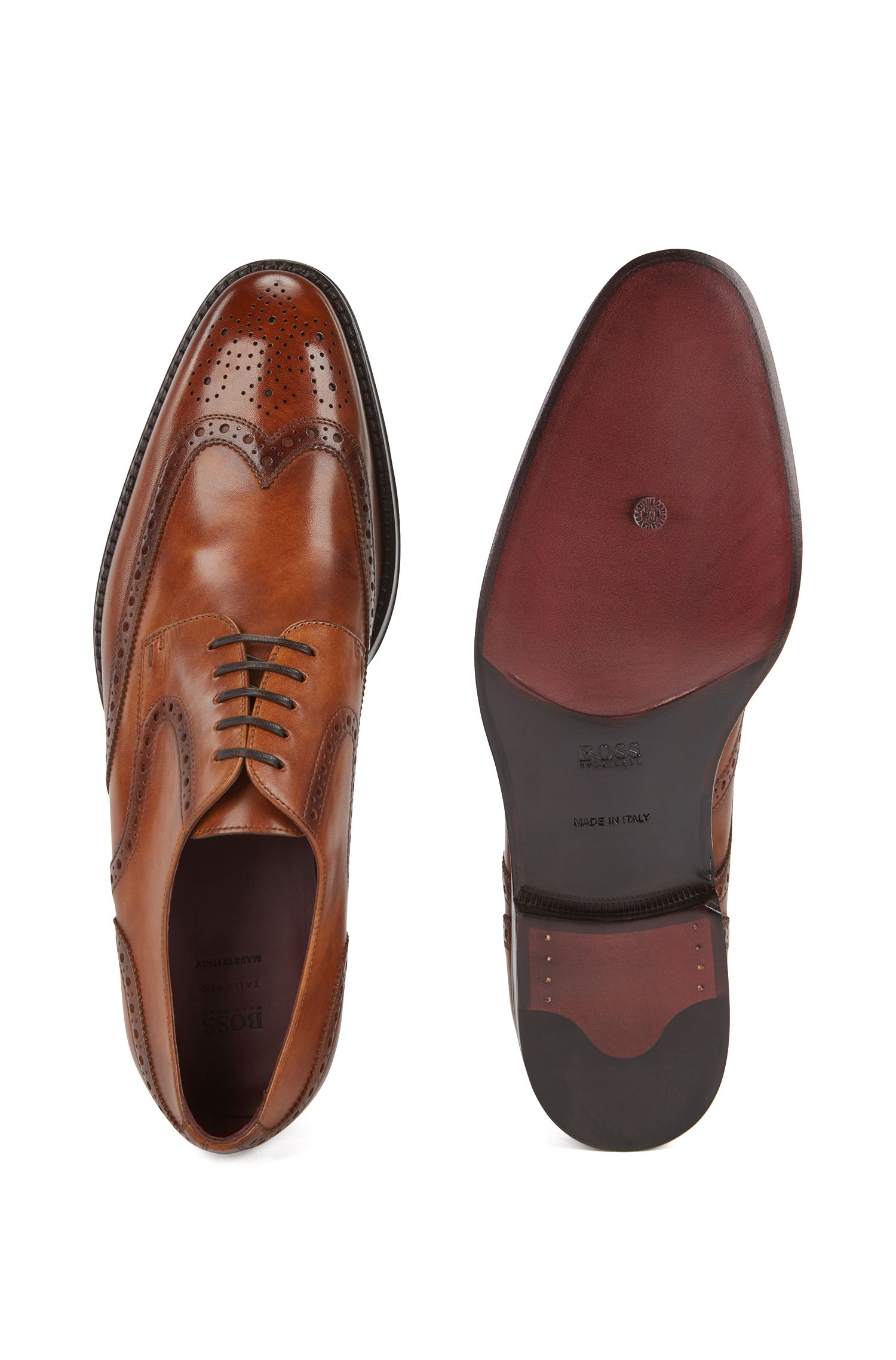 Brogue Derby shoes in burnished calf leather, Brown