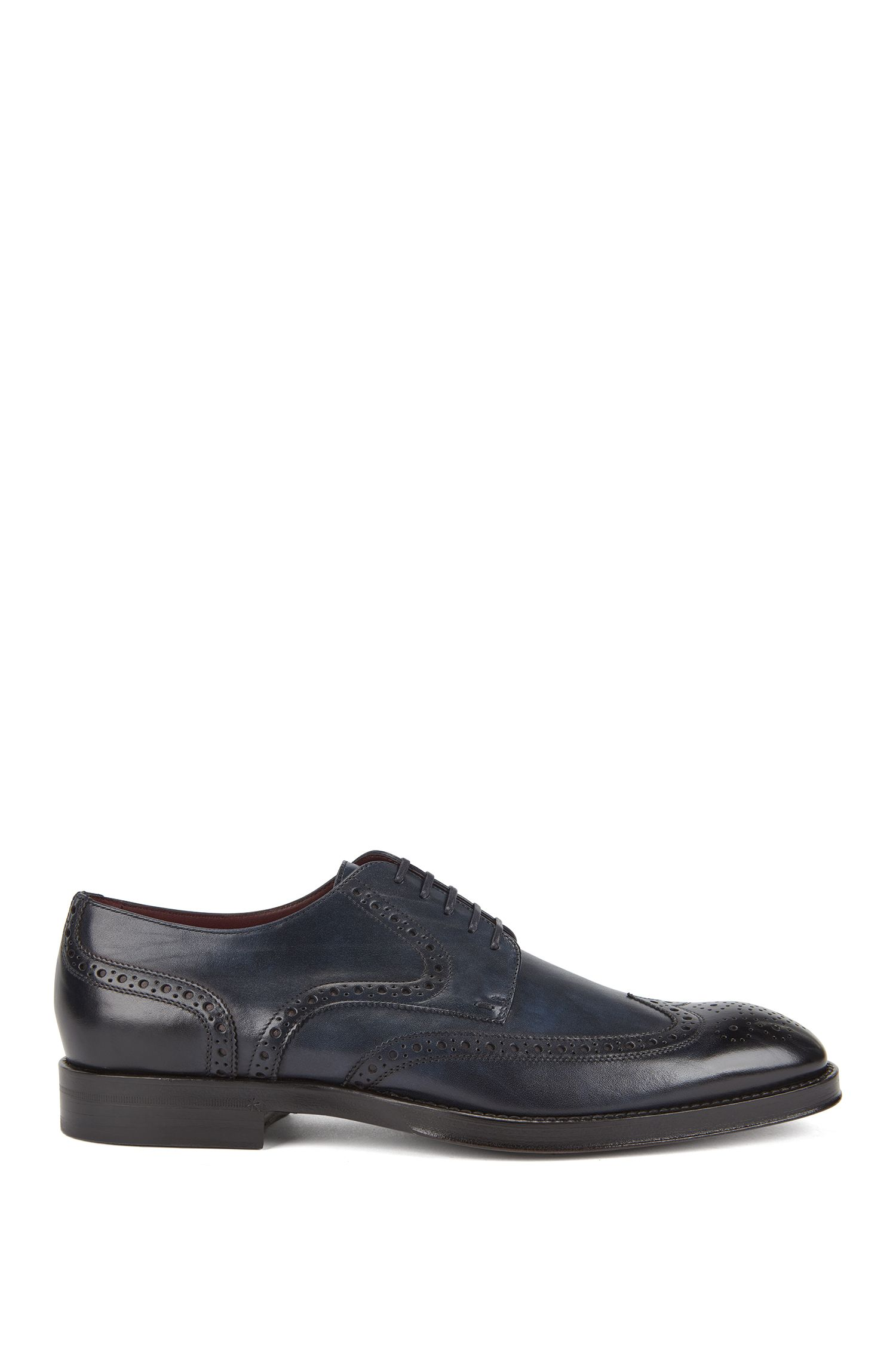 Brogue Derby shoes in burnished calf leather, Dark Blue