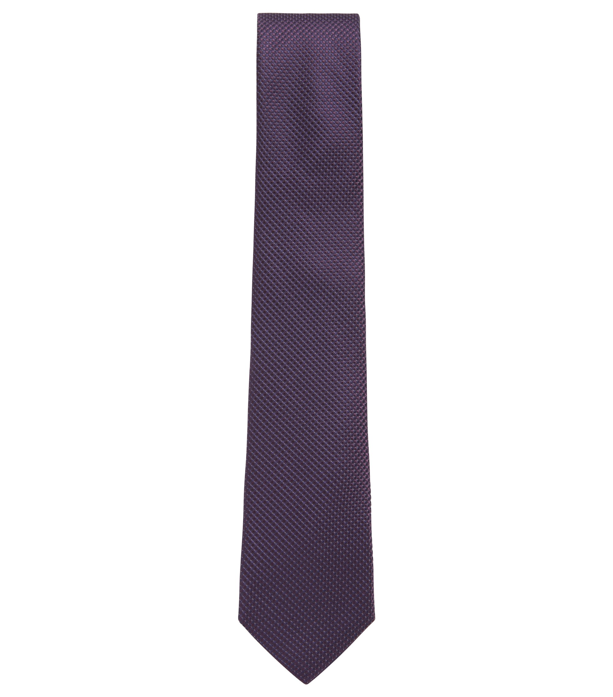 Micro pattern tie in silk jacquard with 7cm blade, Dark Purple