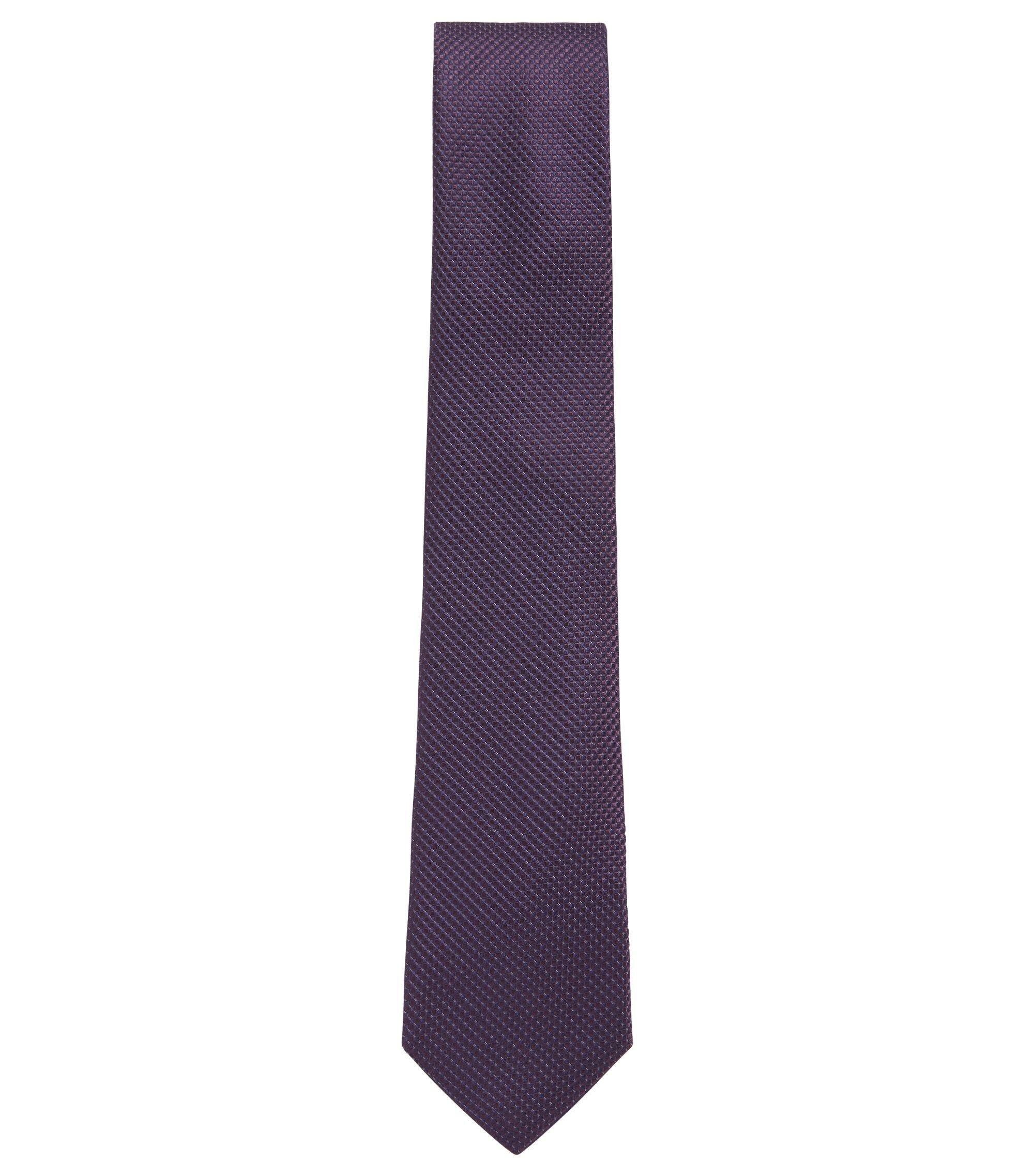Cravate de 7,5cm de large en jacquard de soie à micromotif, Violet foncé