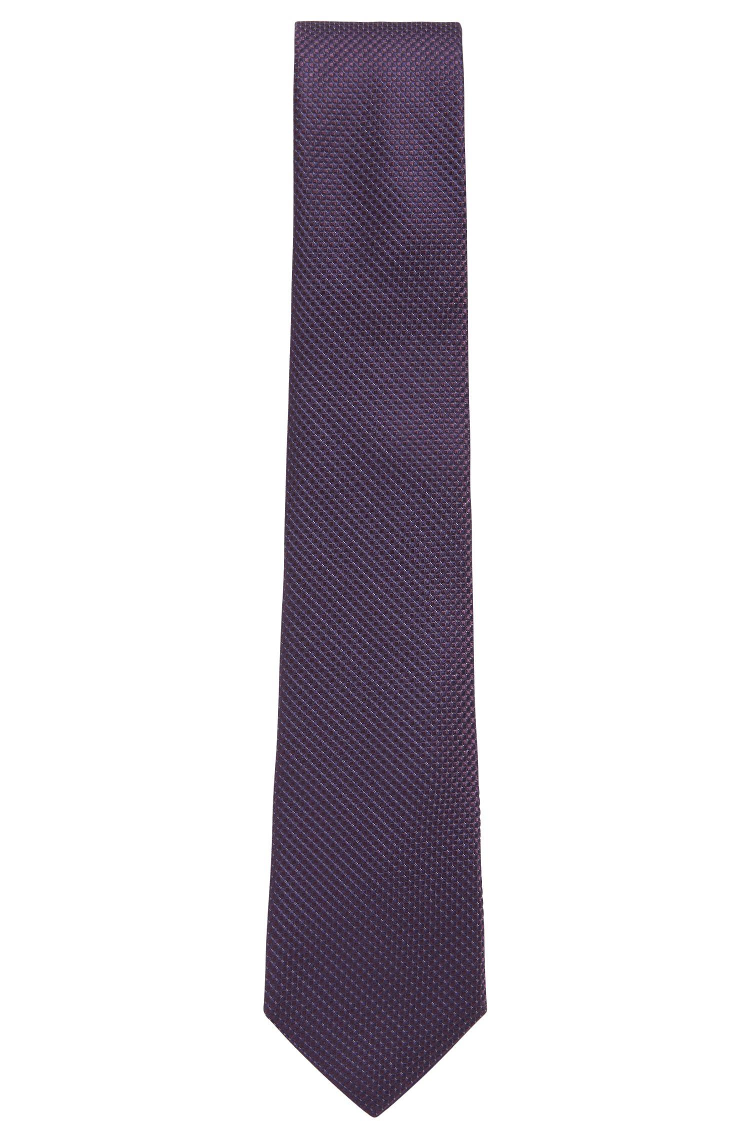 Fein gemusterte Krawatte aus Seiden-Jacquard, Dunkel Lila