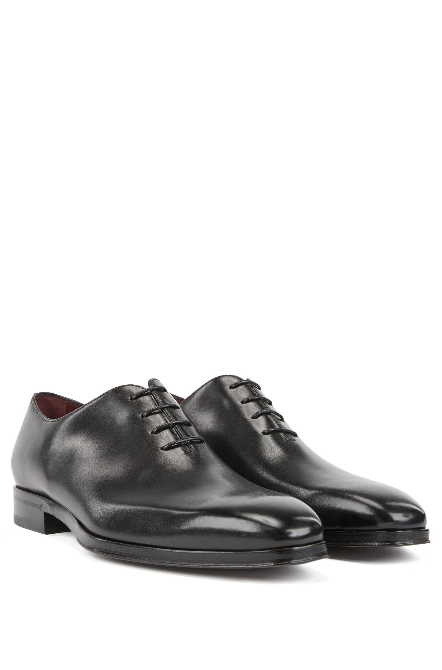 Oxford shoes in burnished calf leather, Black