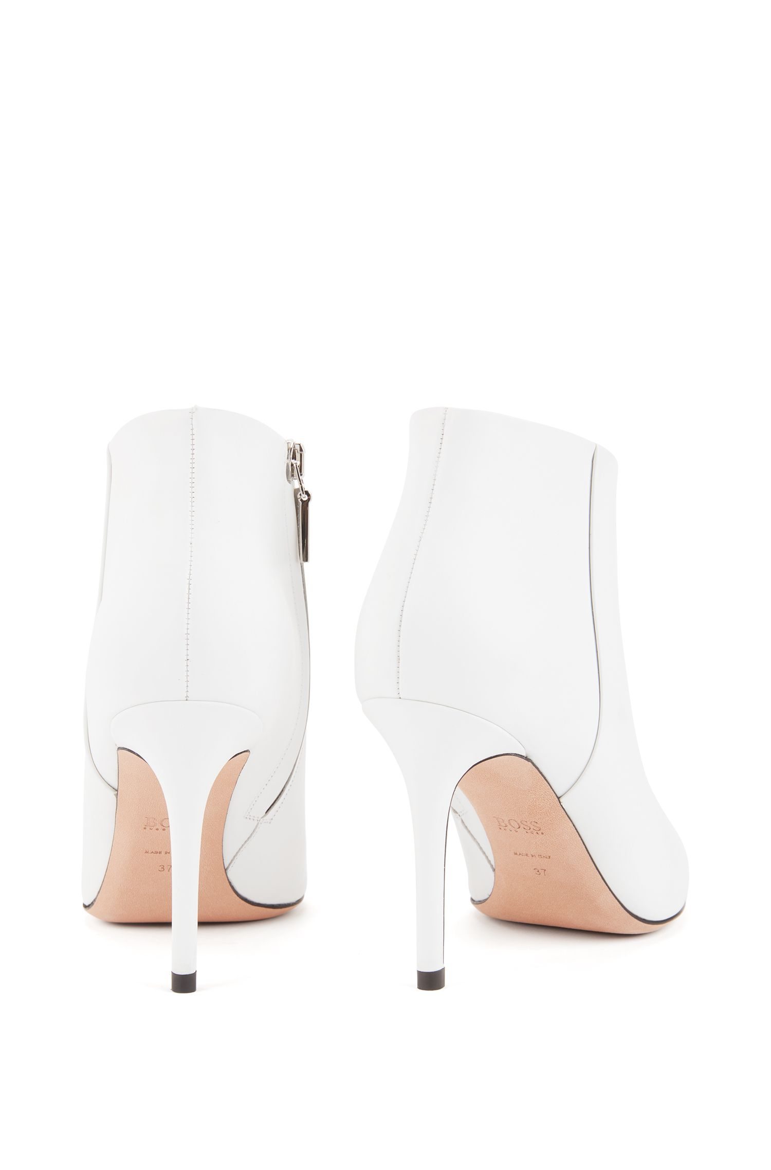 High-heeled ankle boots in Italian calf leather