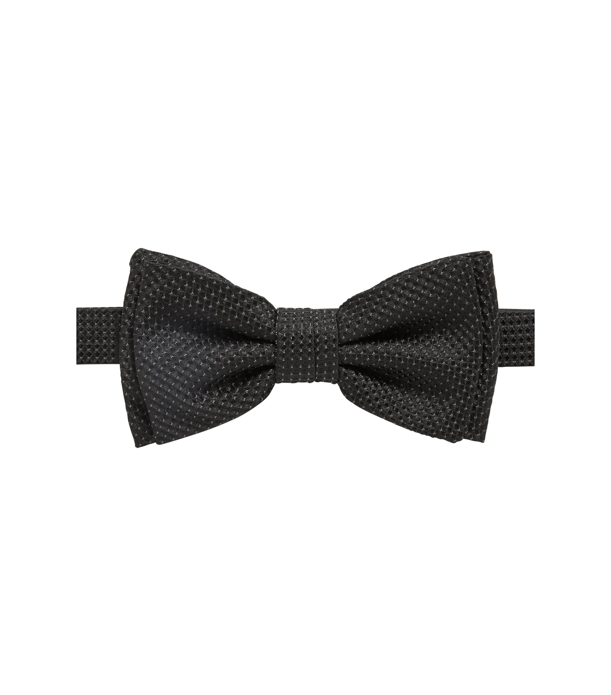 Italian-made bow tie in patterned silk jacquard, Black