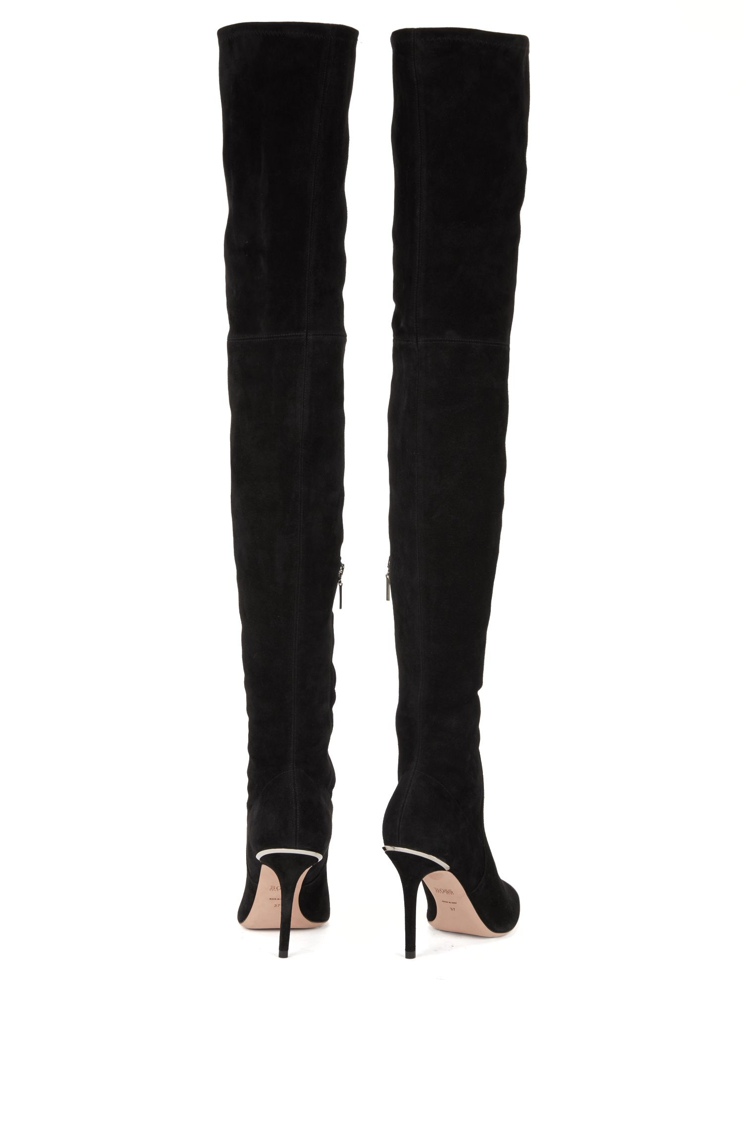 Over-the-knee boots in Italian stretch suede, Black