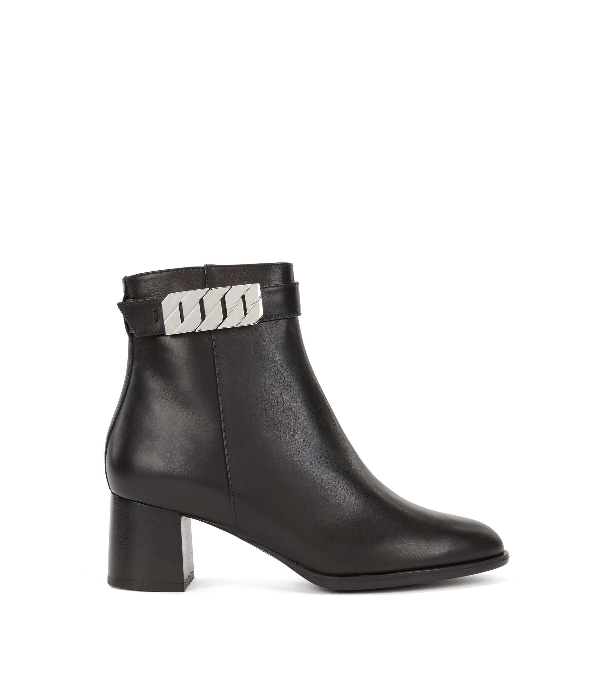 Ankle boots in Italian calf leather with chain detailing, Black