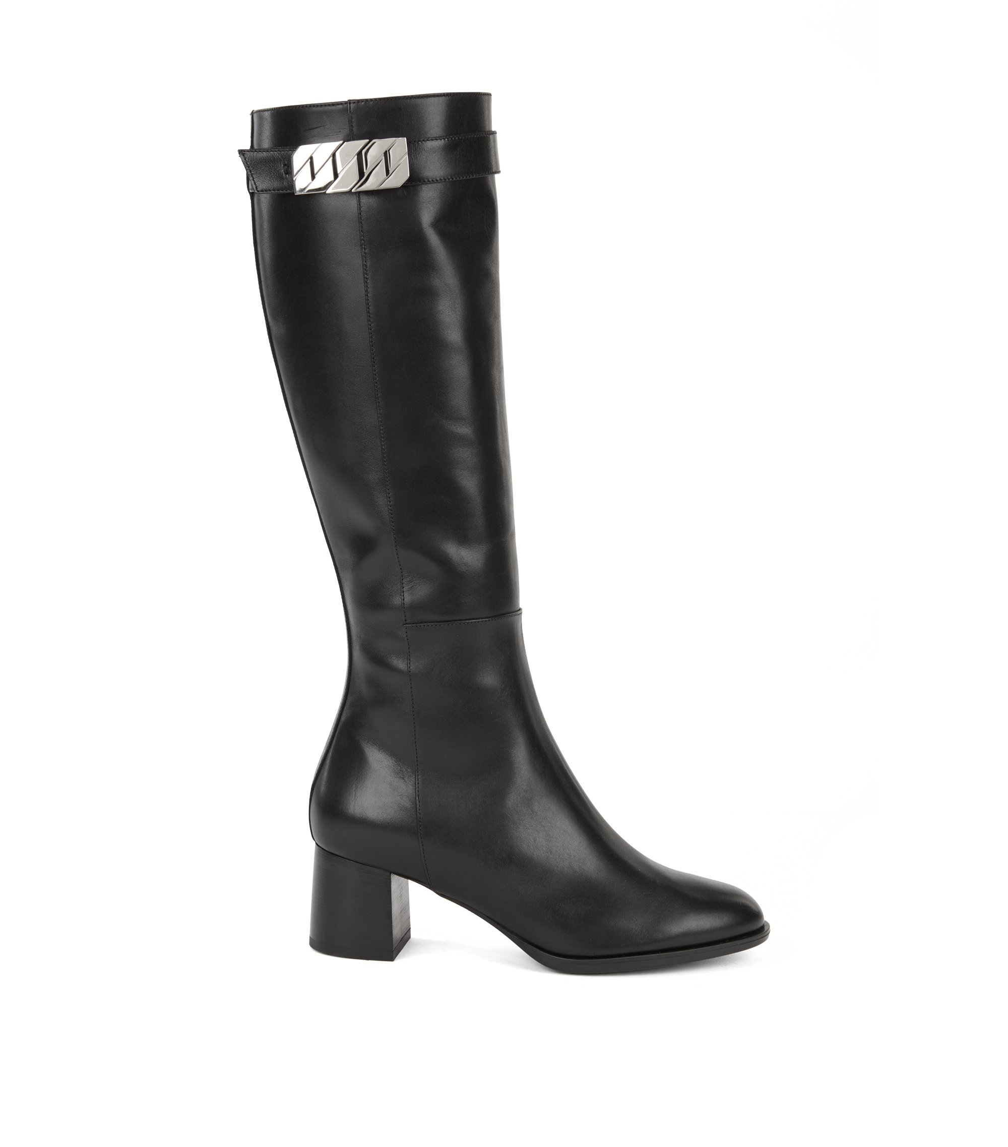 Knee-high boots in Italian leather with chain trim, Black