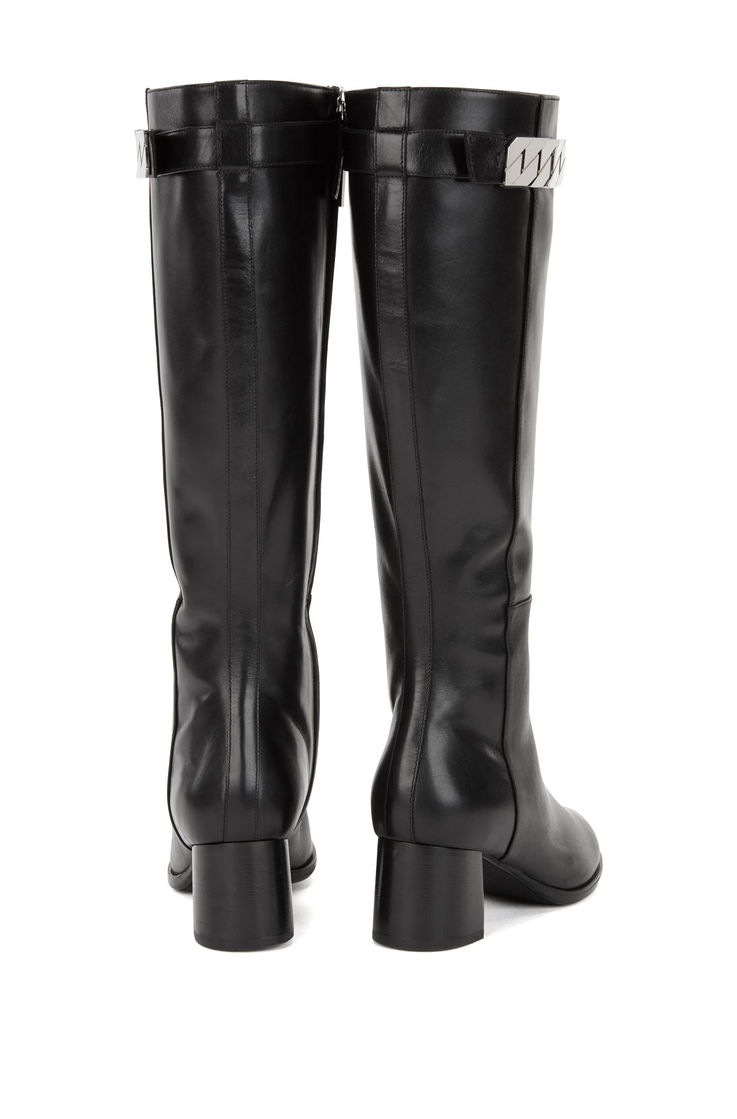 Knee-high boots in Italian leather with chain trim