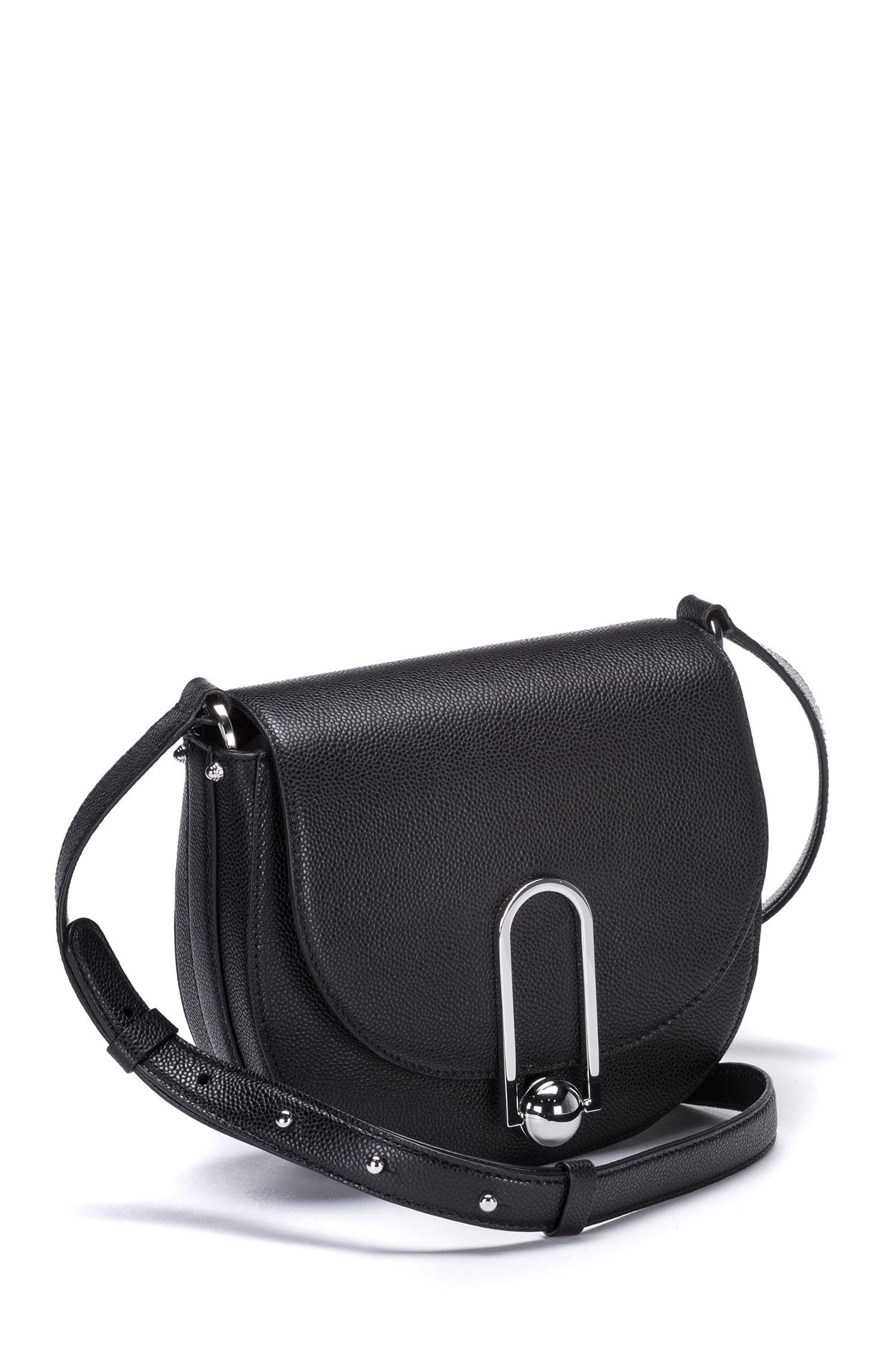 Saddle bag in printed leather, Black