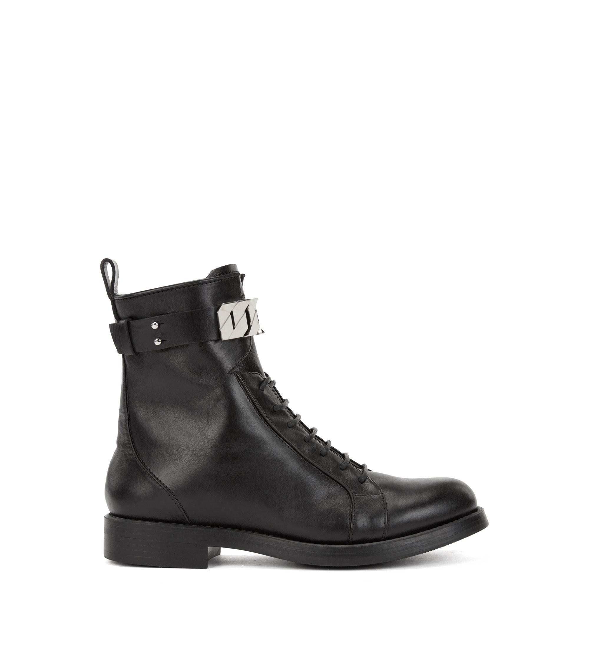 Lace-up ankle boots in leather with chain trim, Black