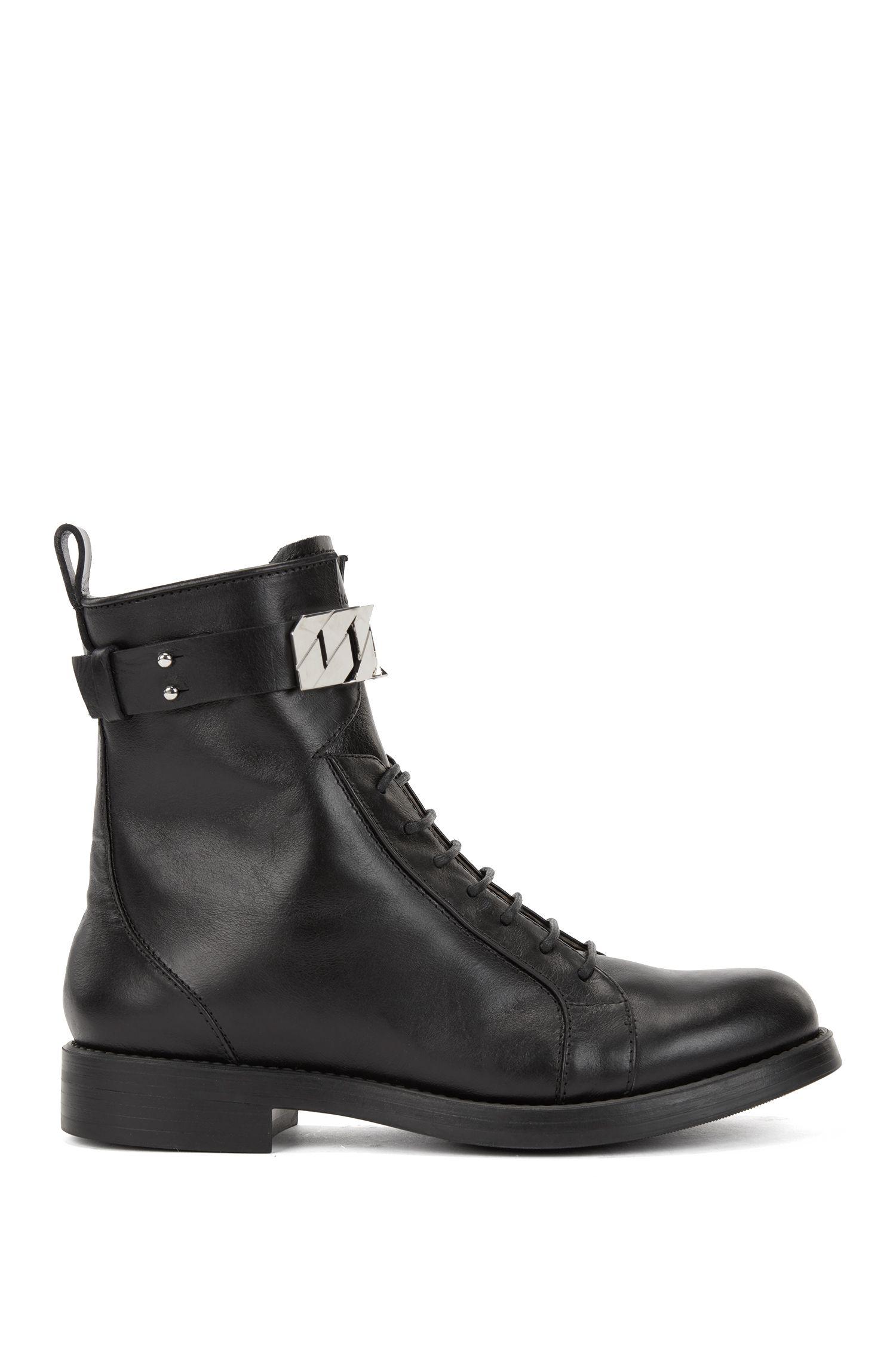 Boots à lacets en cuir ornées d'une garniture à maillons, Noir