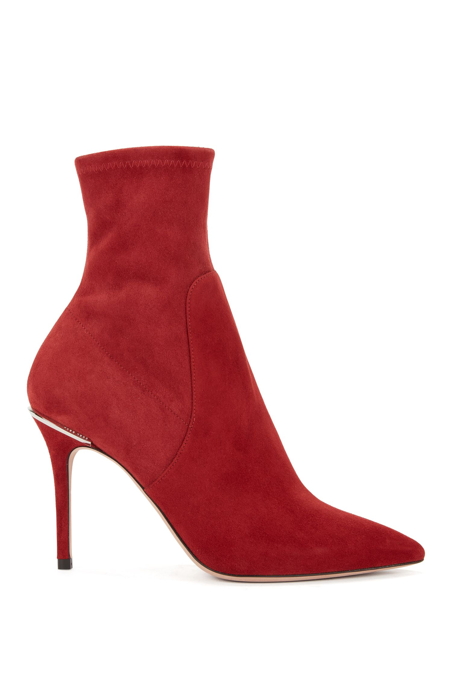 Sock-style ankle boots in Italian stretch suede, Dark Red