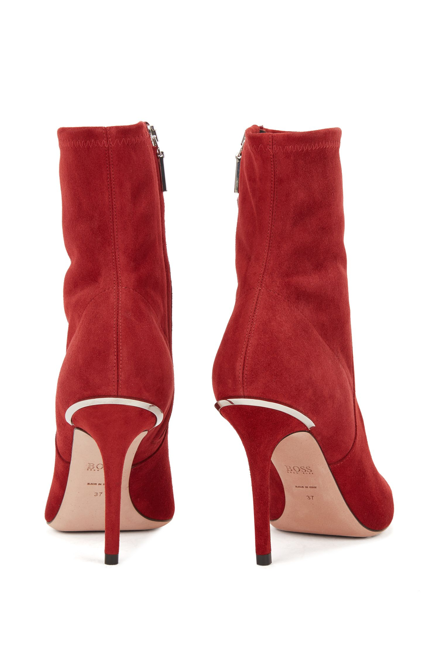 Ankle Bootsim Socken-Stilaus italienischem Stretch-Veloursleder, Dunkelrot
